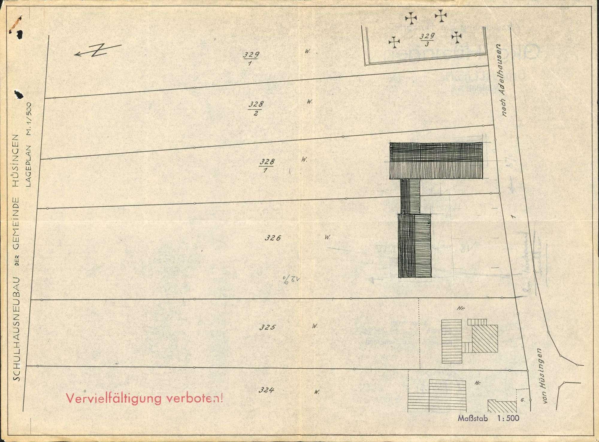 Erstellung eines Schulhauses und eines Saalgebäudes in der Gemeinde Hüsingen, Bild 1