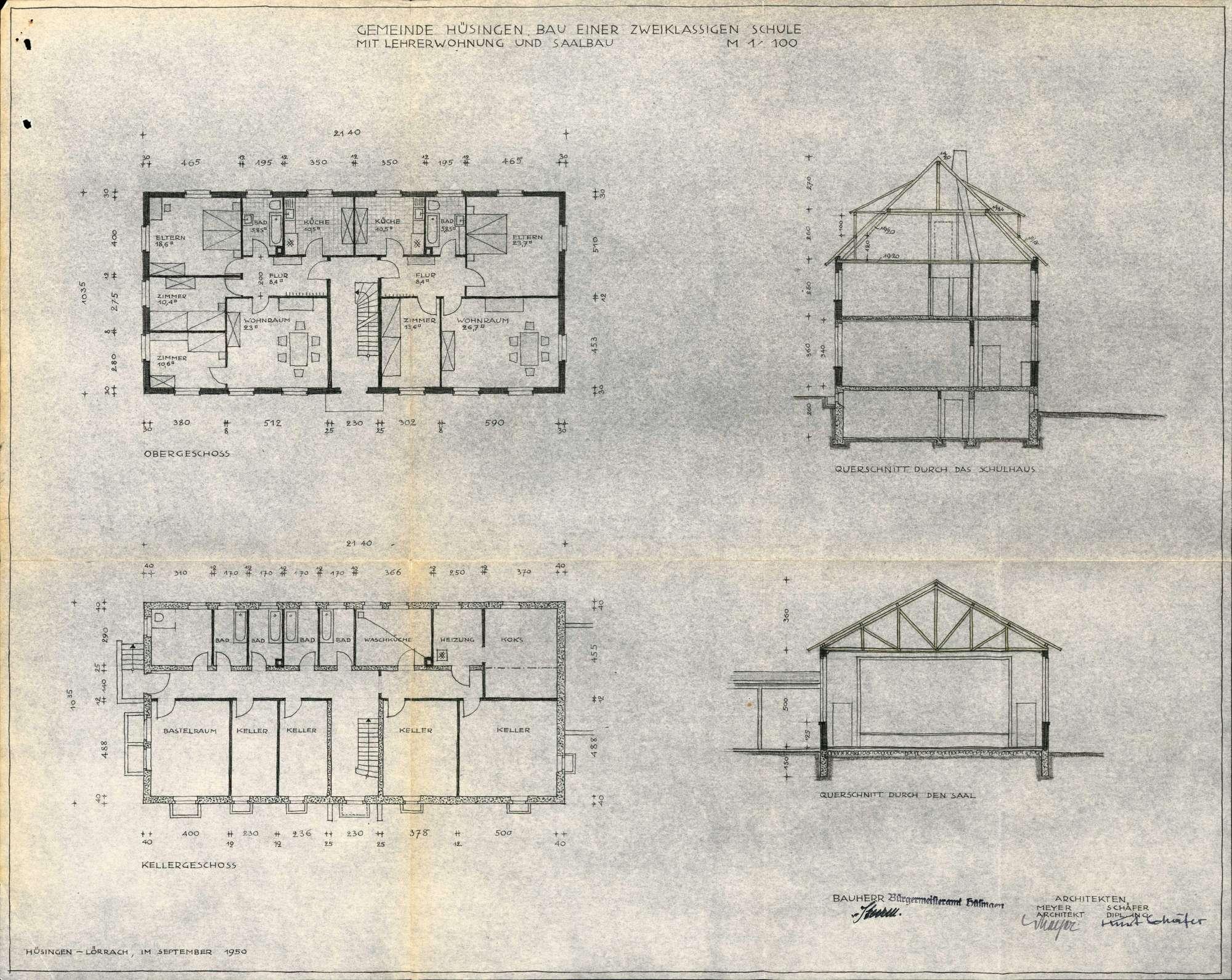 Erstellung eines Schulhauses und eines Saalgebäudes in der Gemeinde Hüsingen, Bild 2