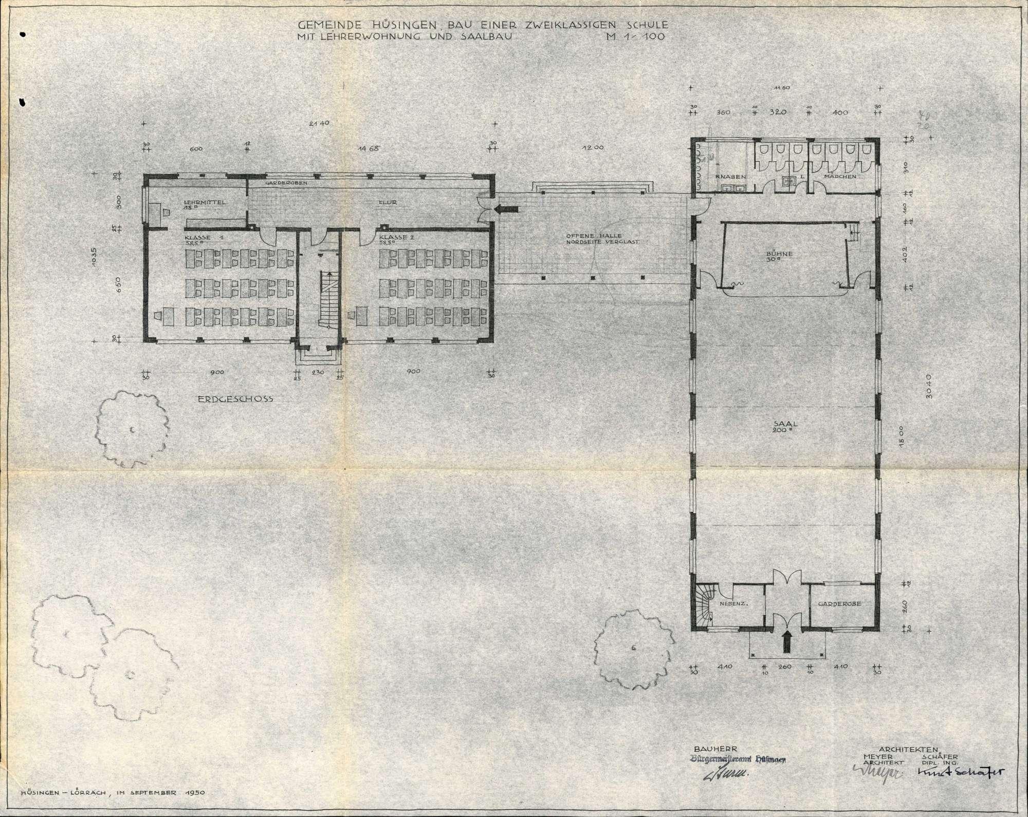Erstellung eines Schulhauses und eines Saalgebäudes in der Gemeinde Hüsingen, Bild 3