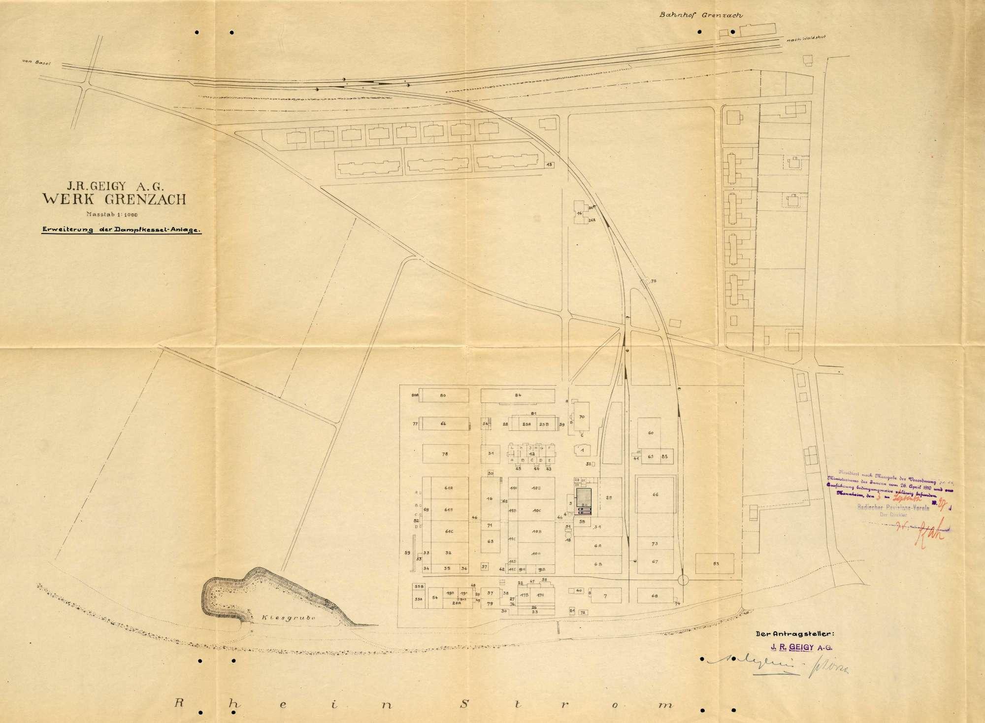 Gesuch der Fa. J. R. Geigy & Cie in Grenzach um Erlaubnis zur Anlegung eines Dampfkessels, Bild 1
