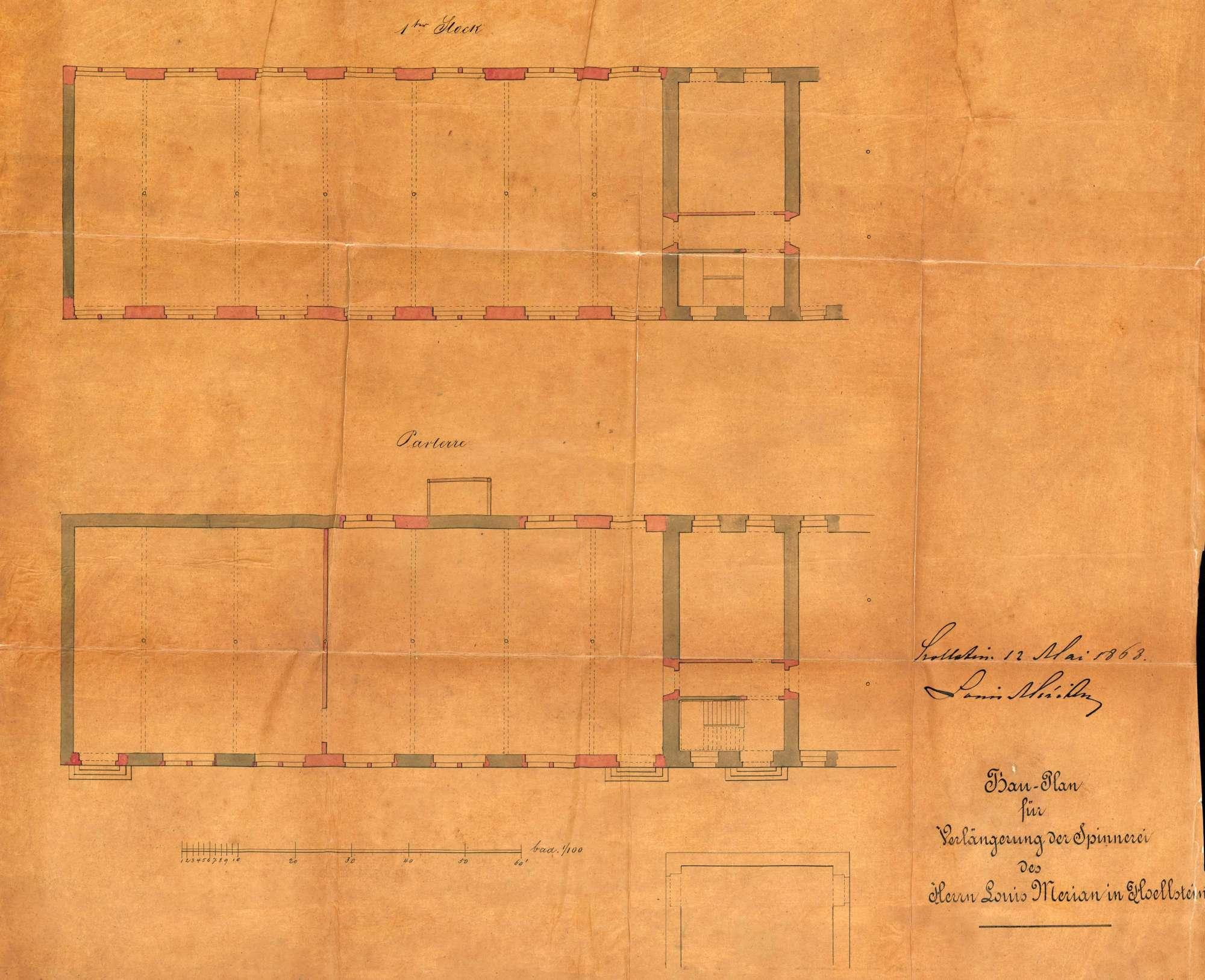 Erwerb von Liegenschaften durch Louis Merian von Basel zur Errichtung einer Maschinenfabrik in Höllstein; Um- und Erweiterungsbauten an der Fabrik, Bild 2