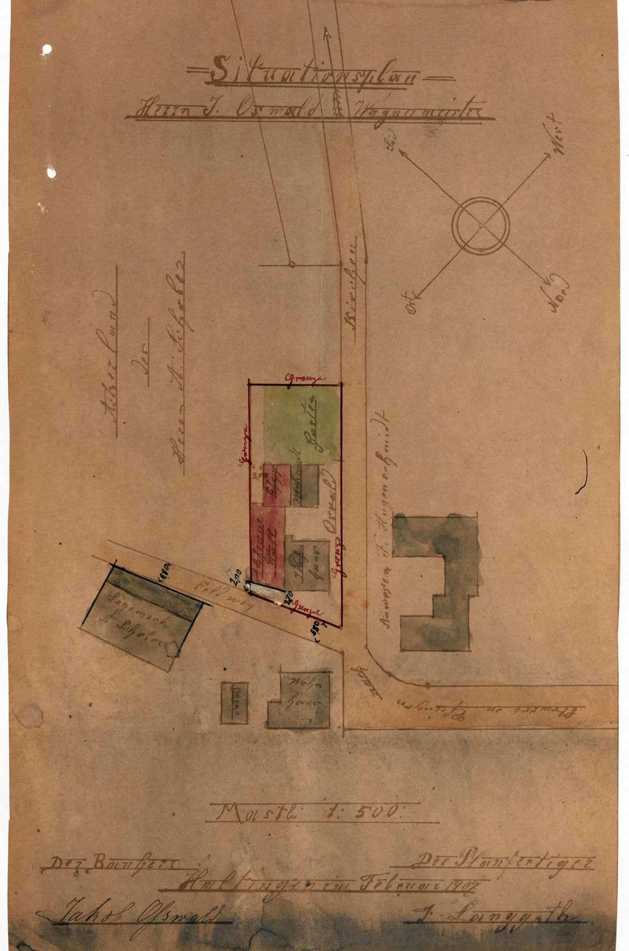 Antrag des Jakob Oßwald auf Genehmigung zum Bau einer Scheune mit Stall und Schopf in Efringen, Bild 1