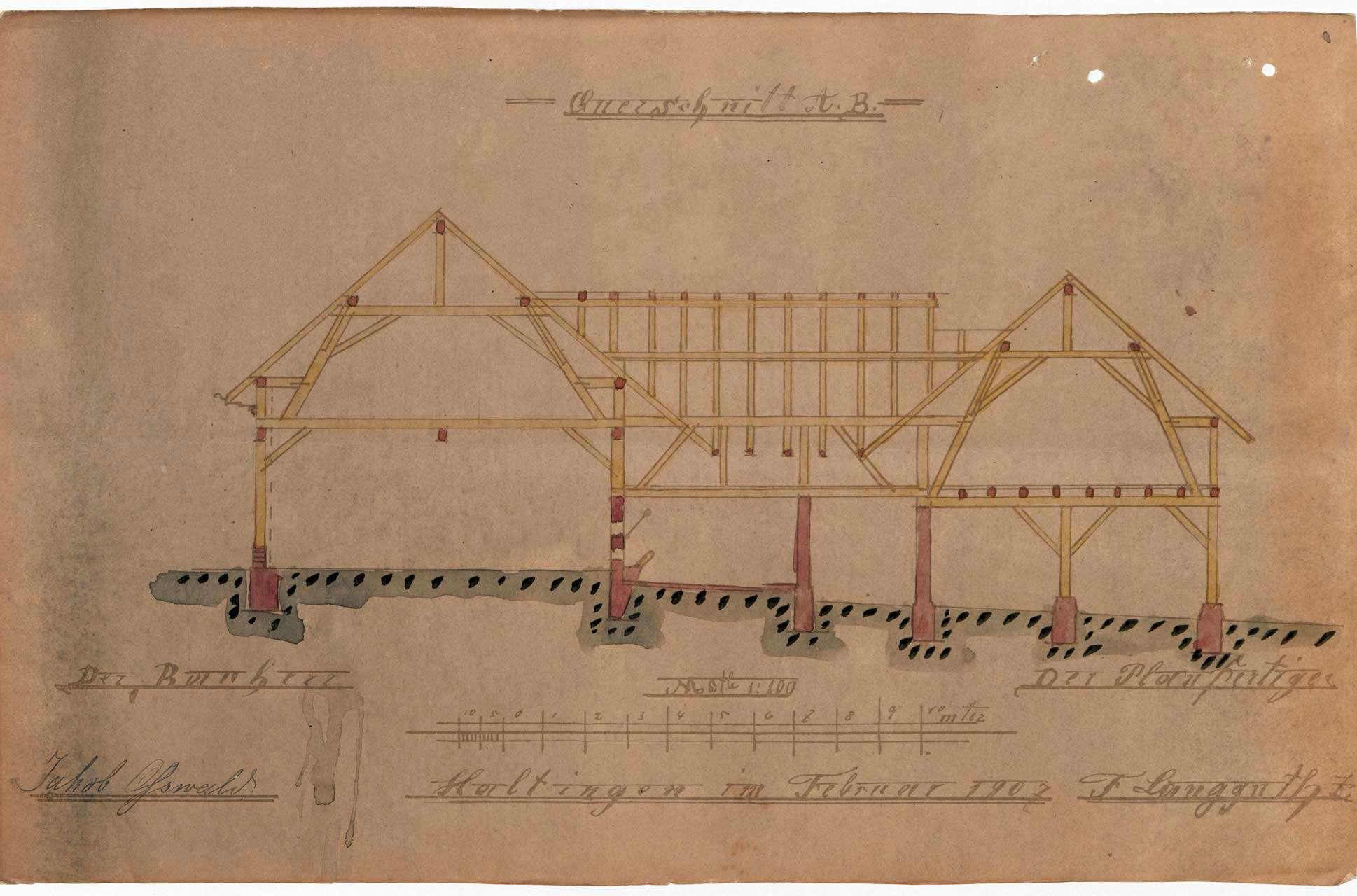 Antrag des Jakob Oßwald auf Genehmigung zum Bau einer Scheune mit Stall und Schopf in Efringen, Bild 3