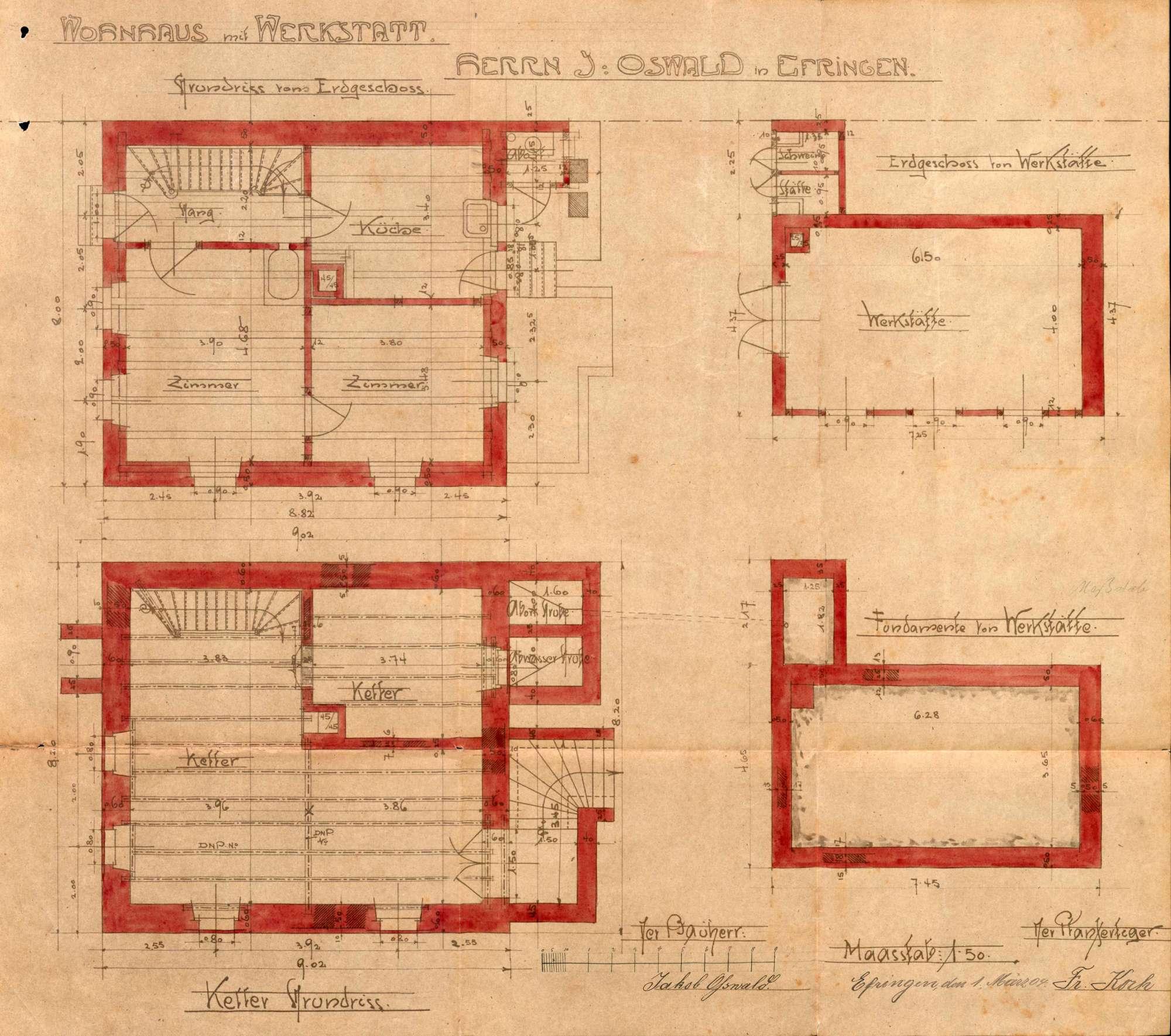 Antrag des Jakob Oßwald auf Genehmigung zum Bau eines Wohnhauses und einer Wagnerwerkstatt in Efringen, Bild 2