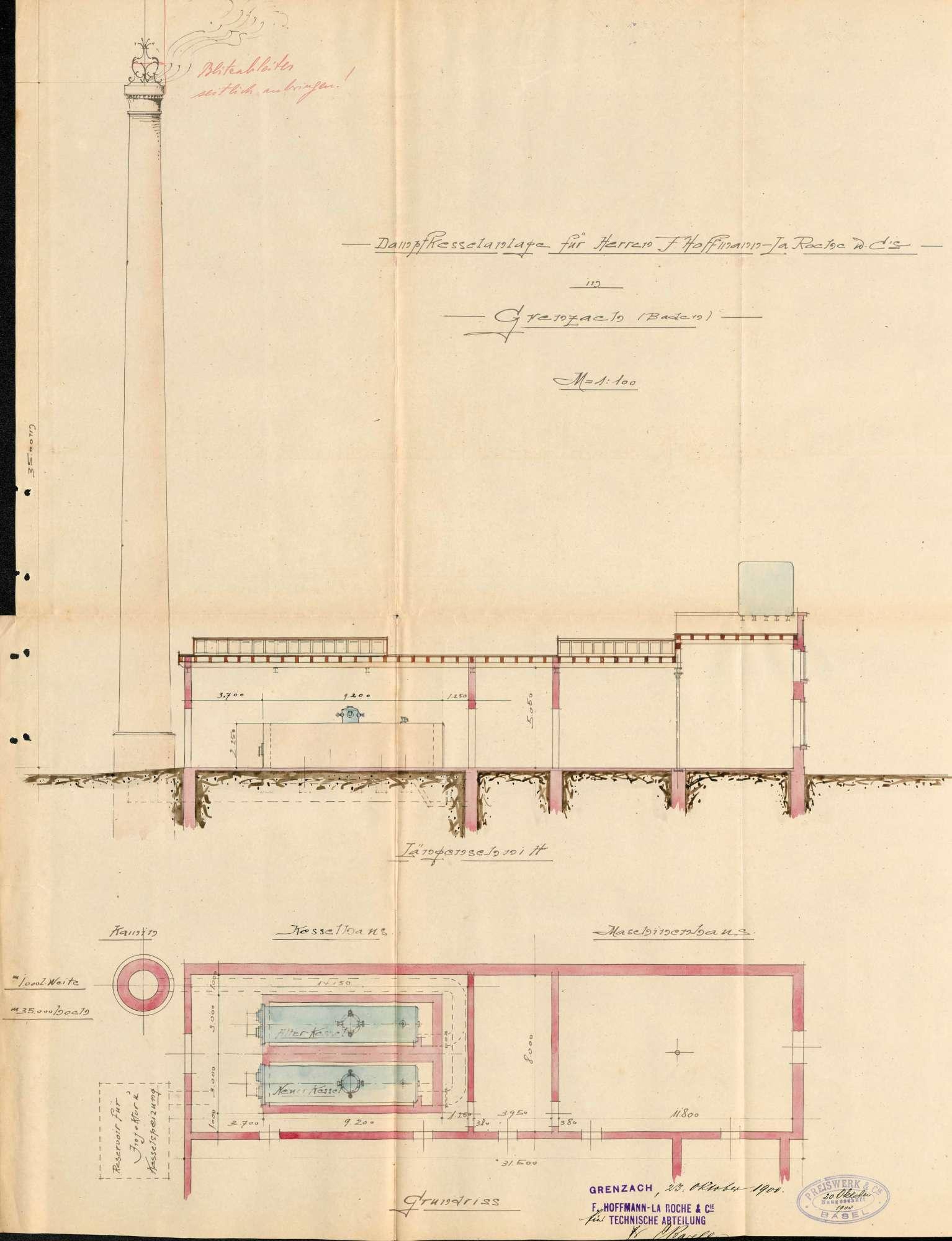 Gesuch der Fa. Hoffmann-La Roche & Cie in Grenzach um Erlaubnis zur Anlegung eines Dampfkessels und zum Umbau des Kesselhauses, Bild 2