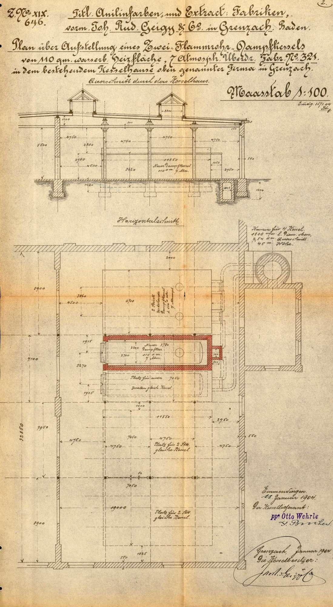 Gesuch der Fa. J. R. Geigy & Cie in Grenzach um Erlaubnis zur Anlegung eines Dampfkessels, Bild 2