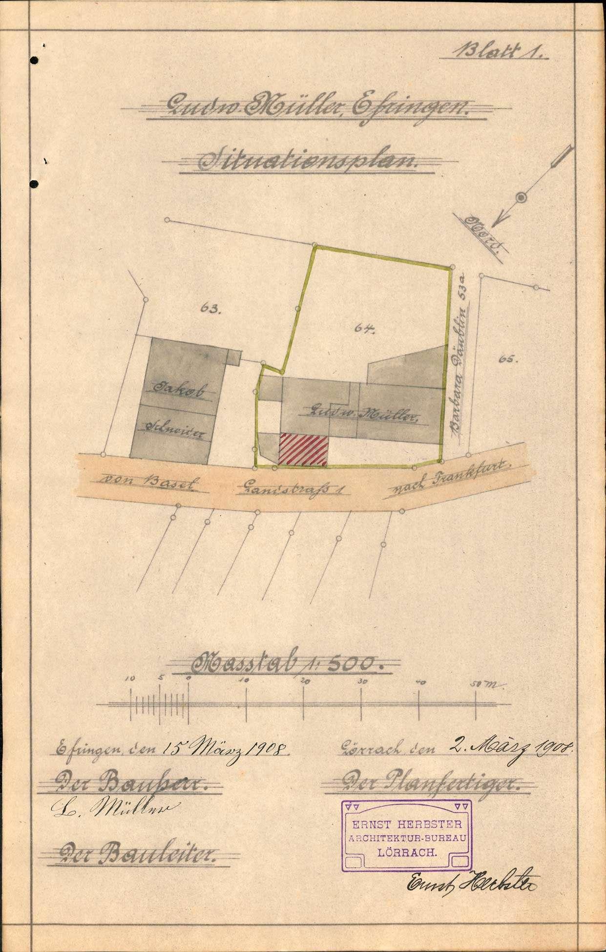 Antrag des Ludwig Müller auf Genehmigung zum Bau einer Wohnung über dem Waschraum seines Hauses in Efringen, Bild 1