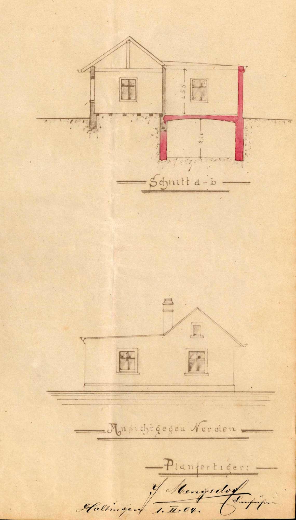 Antrag des Ernst Mengsdorf auf Genehmigung zum Bau eines Anbaus an sein bestehendes Wohnhaus in Efringen, Bild 3