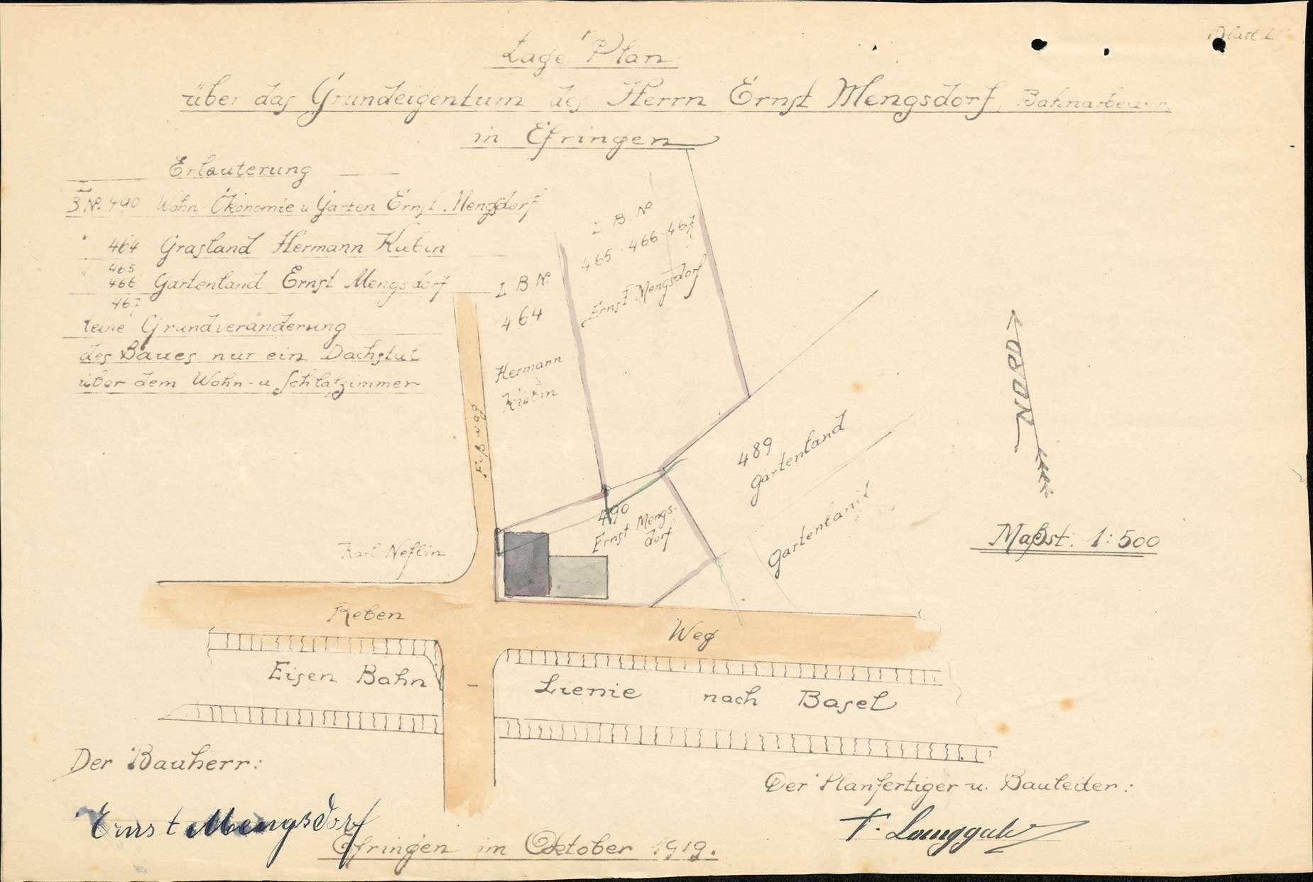 Antrag des Ernst Mengsdorf auf Genehmigung zum Bau eines Kniestockes auf sein Wohnhaus in Efringen, Bild 1