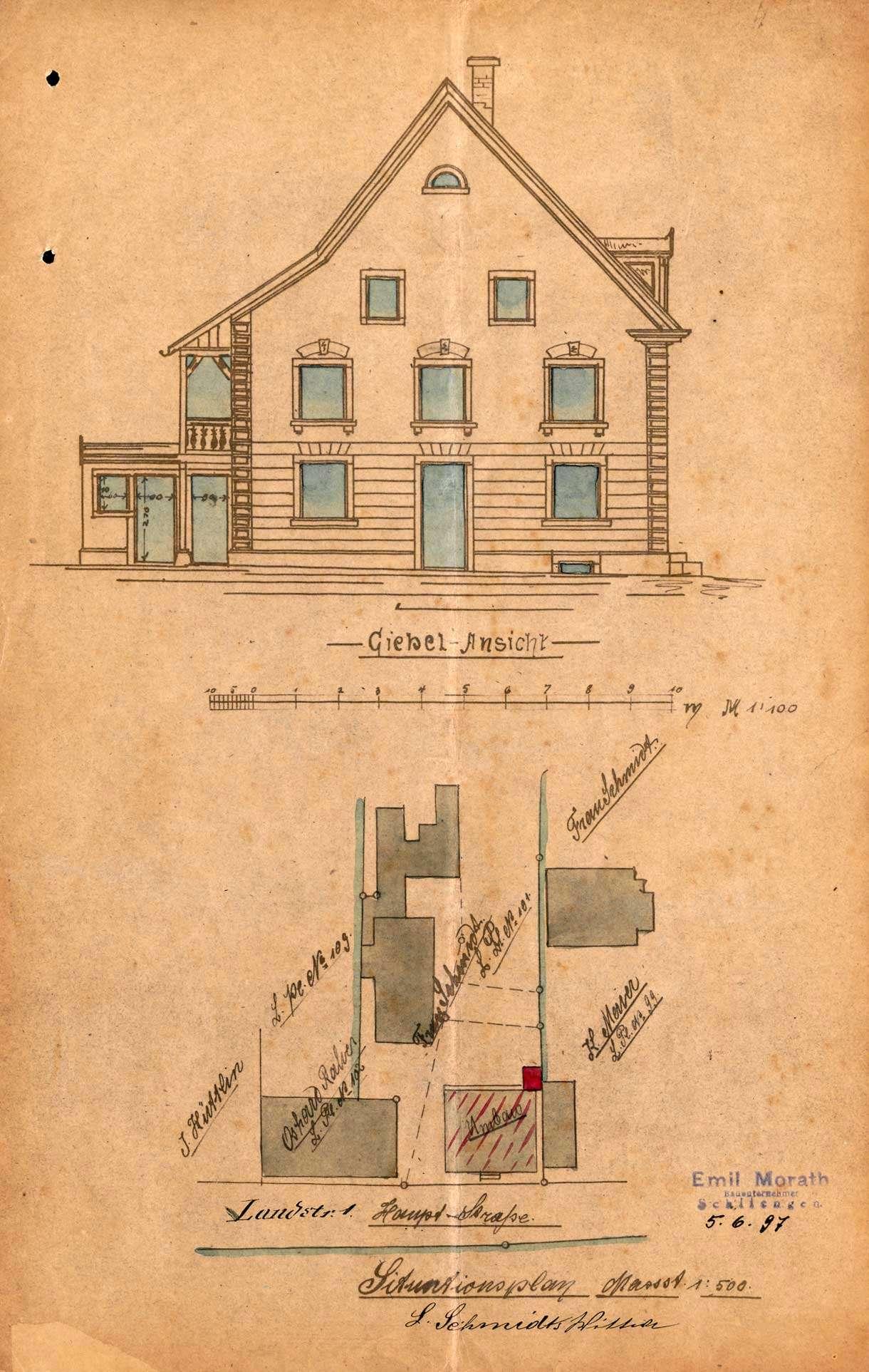Antrag der Witwe des Ludwig Schmidt, Gastwirtin Zum Markgräflerhof, auf Genehmigung zum Umbau der Scheune als Wohnhaus in Efringen, Bild 1