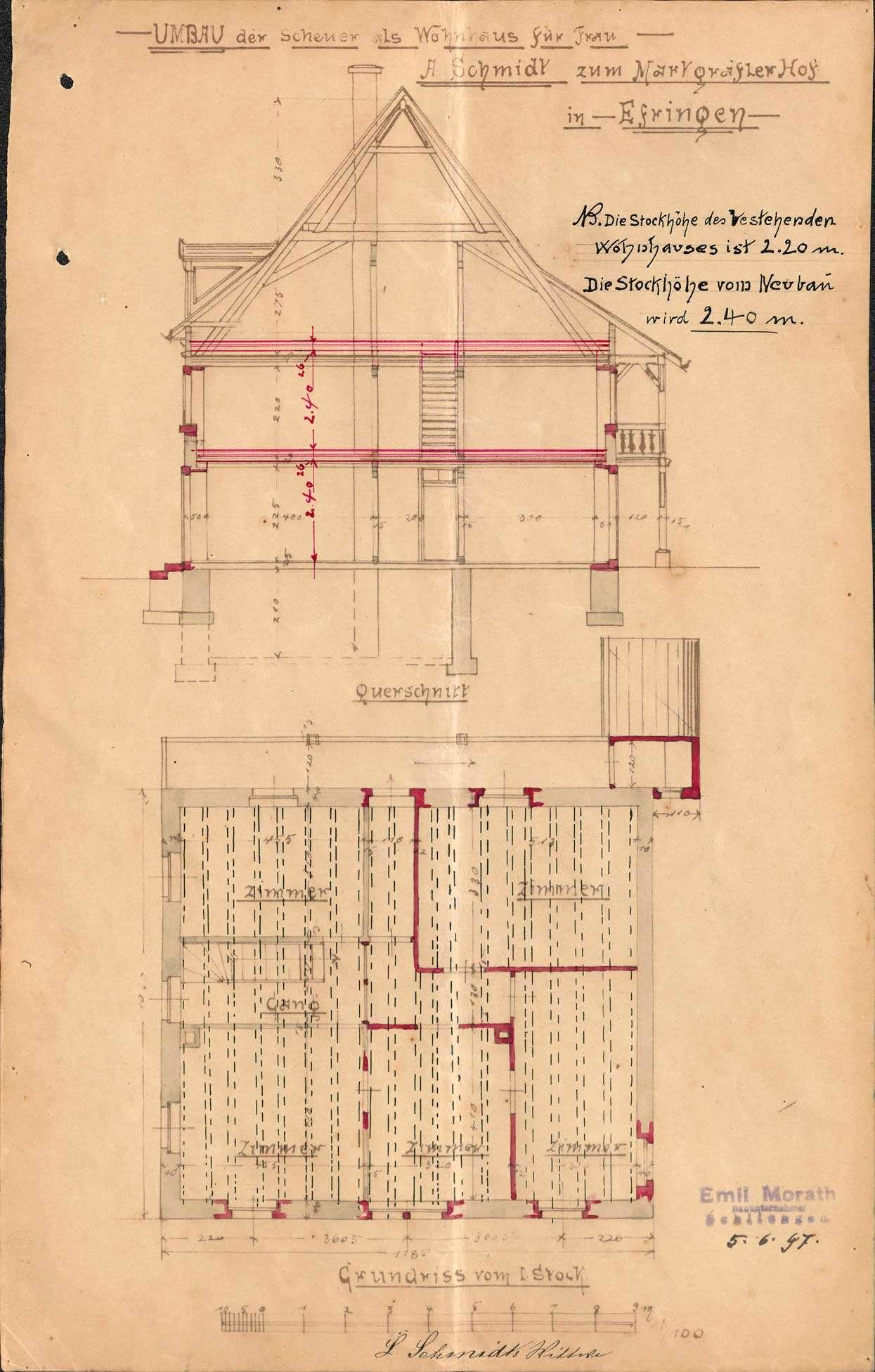 Antrag der Witwe des Ludwig Schmidt, Gastwirtin Zum Markgräflerhof, auf Genehmigung zum Umbau der Scheune als Wohnhaus in Efringen, Bild 3