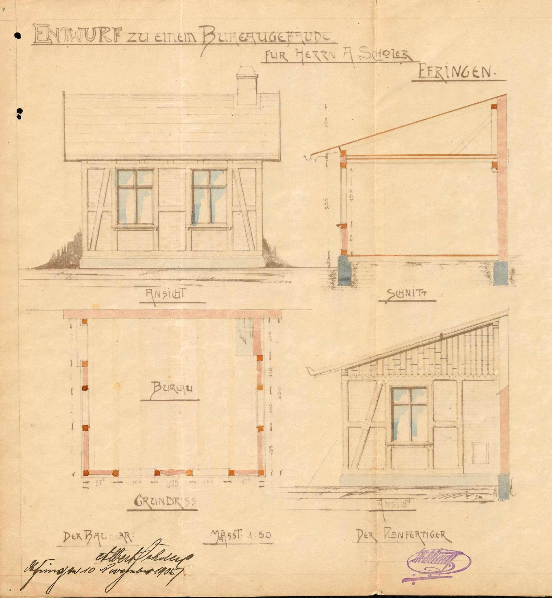 Antrag des Sägewerkbesitzers Albert Scholer auf Genehmigung zum Bau eines Bürogebäudes in Efringen, Bild 2