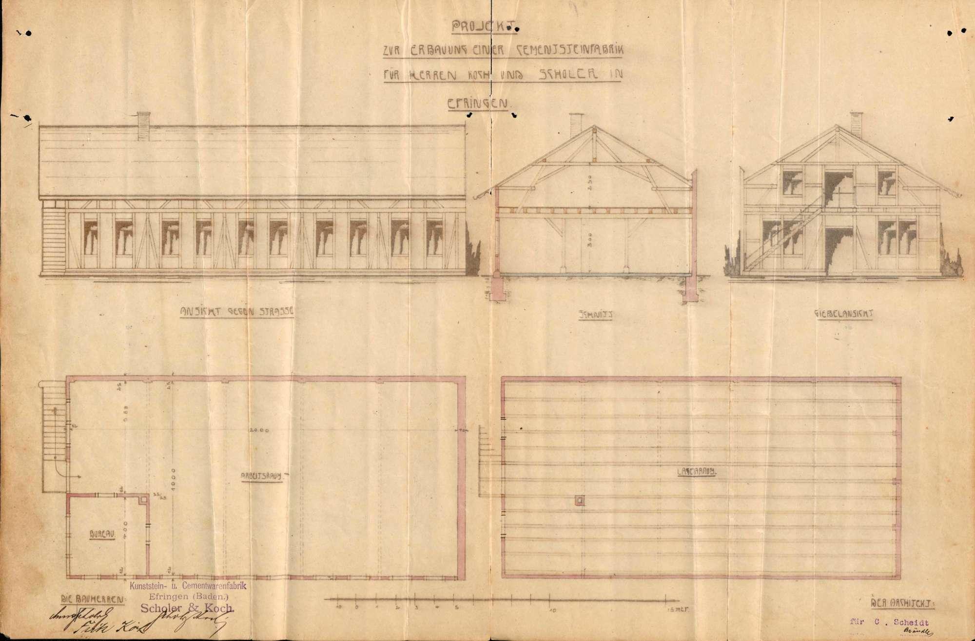 Antrag des Kaufmanns Ernst Scholer und des Maurers Fritz Koch auf Genehmigung zum Bau einer Kunststein- und Zementwarenfabrik in Erfingen, Bild 2