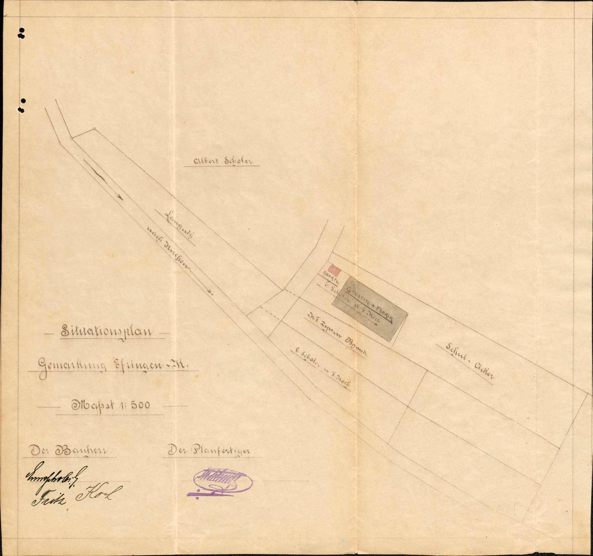 Antrag des Kaufmanns Ernst Scholer und des Maurers Fritz Koch auf Genehmigung zum Bau einer Kunststein- und Zementwarenfabrik in Erfingen, Bild 3
