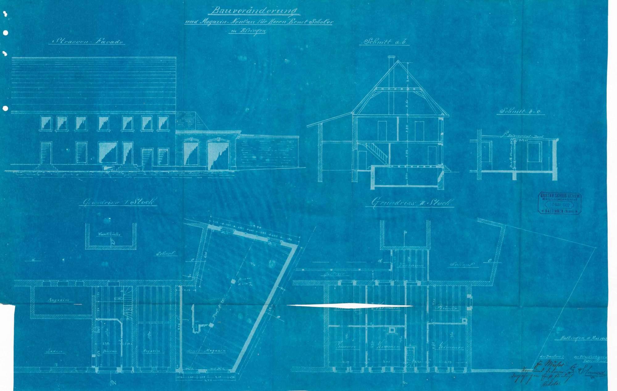 Antrag des Ernst Scholer auf Genehmigung zum Bau eines Magazins und zur Veränderung des alten Magazins zu einer Wohnung in Erfingen, Bild 1