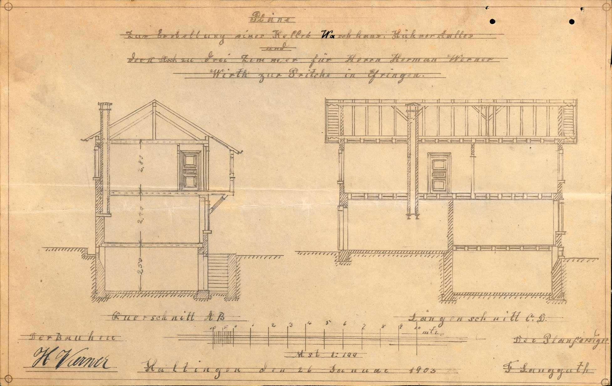 Antrag des Hermann Werner auf Genehmigung zum Bau eines Kellers, Waschhauses, Hühnerstalls und zur Erweiterung des zweiten Stocks seines Hauses in Efringen, Bild 3