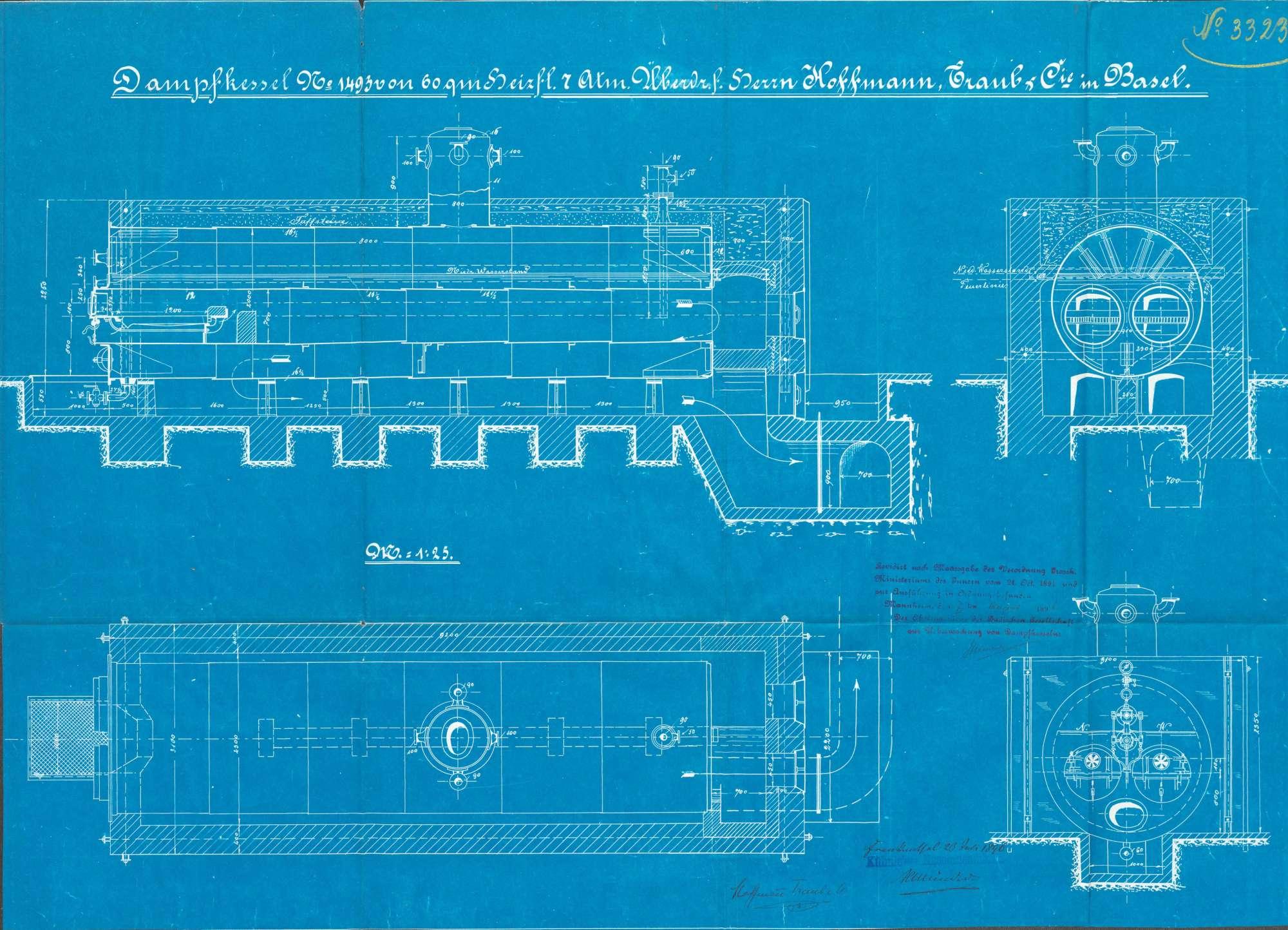 Gesuch der Fa. Hoffmann, Traub & Cie in Grenzach um Erlaubnis zur Anlegung eines Dampfkessels und Umbau des Kesselhauses, Bild 3