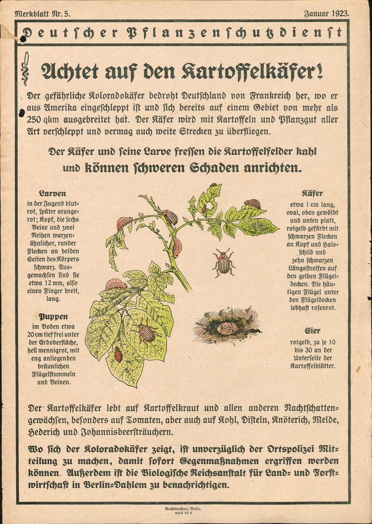 Errichtung einer Organisation für die Beobachtung und Bekämpfung von Pflanzenkrankheiten sowie zur Schädlingsbekämpfung, Bild 1 [Quelle: Landesarchiv BW, StAF B 719/1 Nr. 6172]