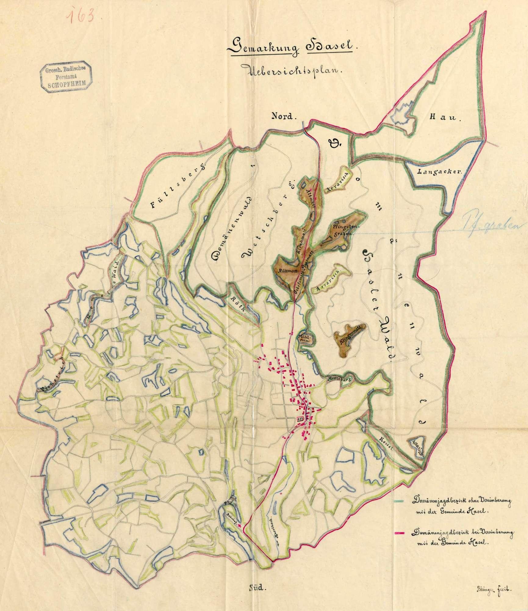 Jagdbezirke, Jagdgenossenschaften und Jagdverpachtungen auf der Gemarkung der Gemeinde Hasel, Bild 1