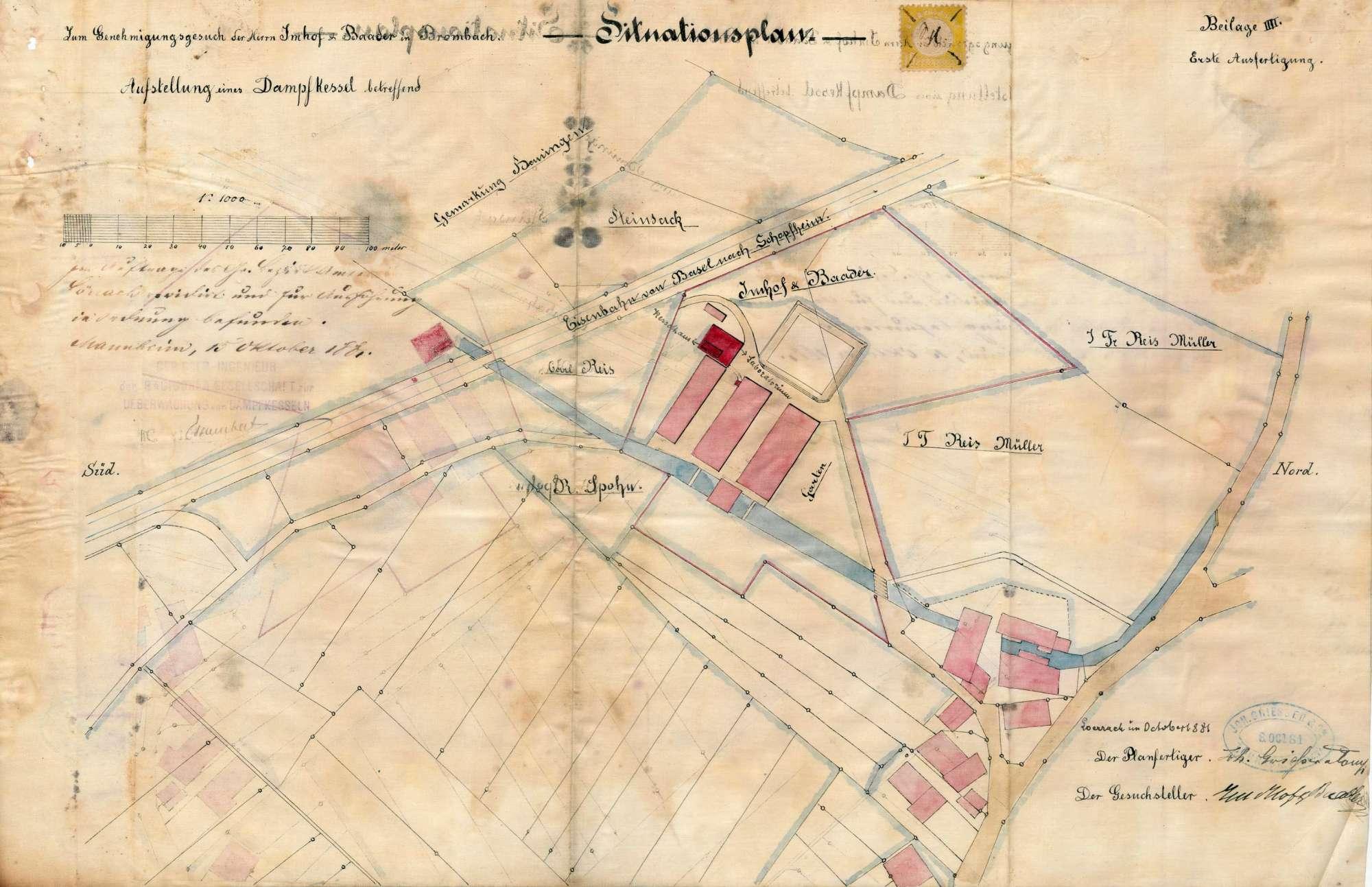 Gesuch der Fa. Im Hof und Baader in Brombach um Erlaubnis zur Anlegung eines Dampfkessels, Bild 2