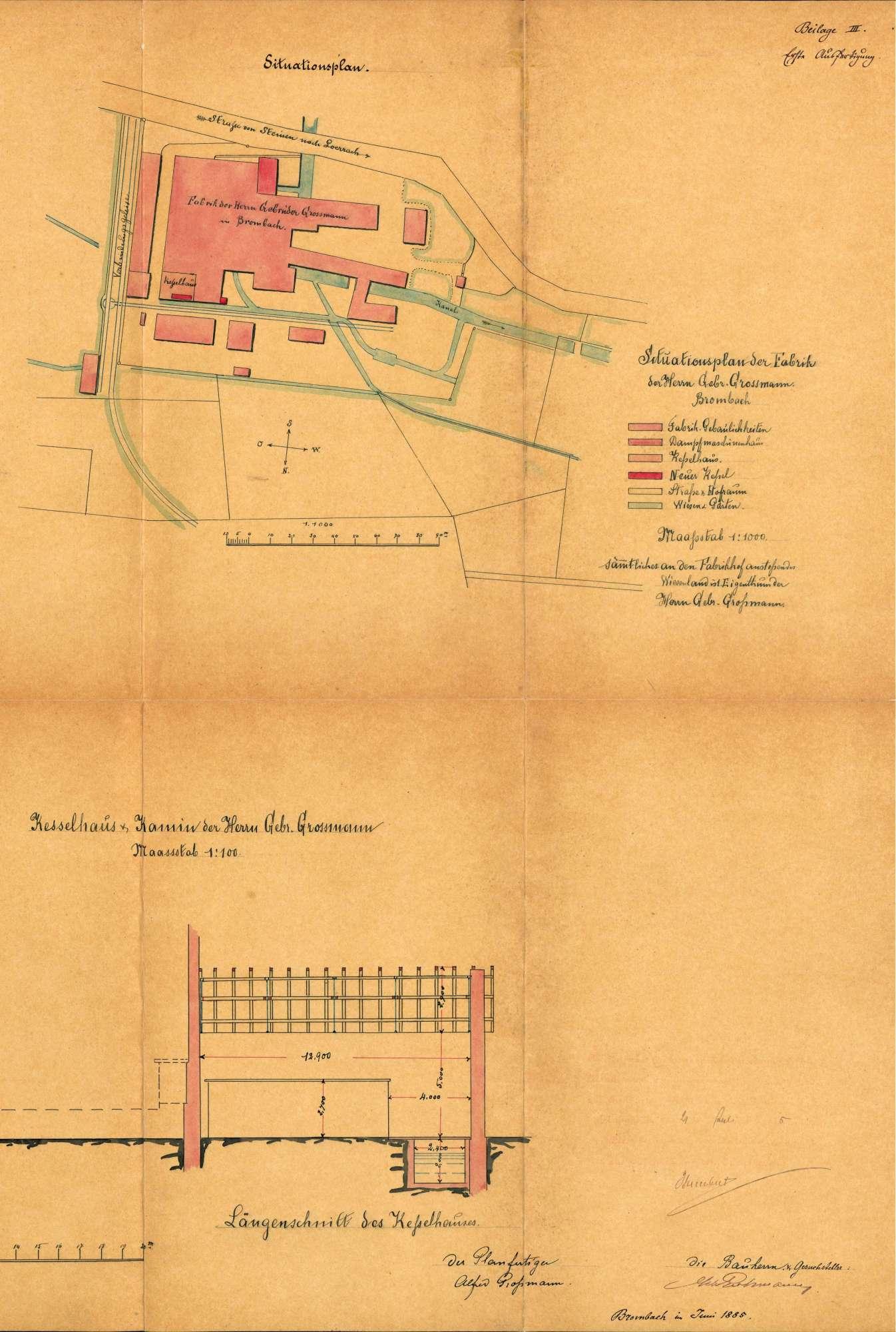 Gesuch der Fa. Gebrüder Großmann in Brombach um Erlaubnis zur Anlegung eines Dampfkessels, Bild 3