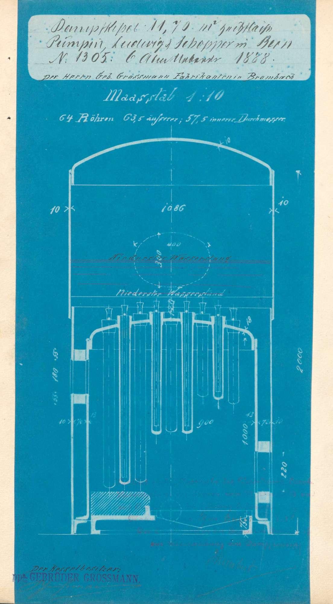 Gesuch der Fa. Gebrüder Großmann in Brombach um Erlaubnis zur Anlegung eines Dampfkessels in der dortigen Säge, Bild 2