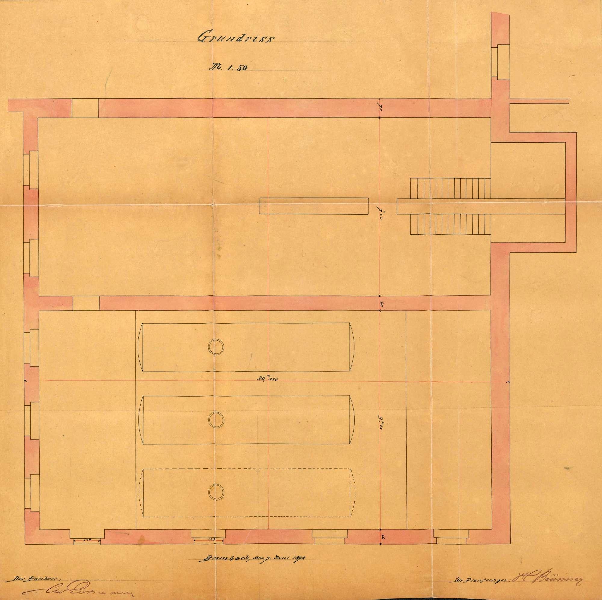 Gesuch der Fa. Gebrüder Großmann in Brombach um Erlaubnis zur Anlegung zweier Dampfkessel sowie auf Veränderung eines Dampfkessels, Bild 3