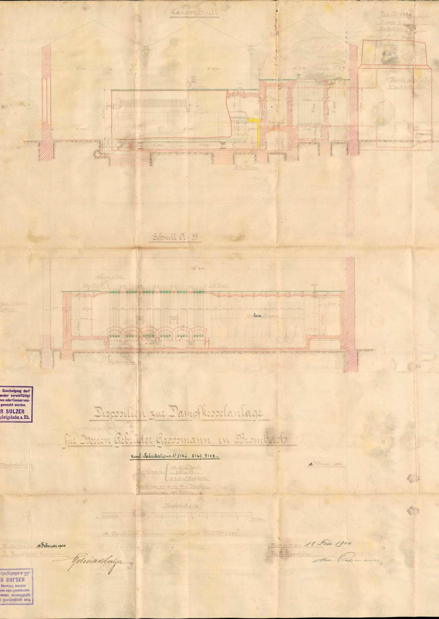Gesuch der Fa. Gebrüder Großmann in Brombach um Erlaubnis zur Aufstellung eines Dampfkessels; Überwachung des Kessels, Bild 3