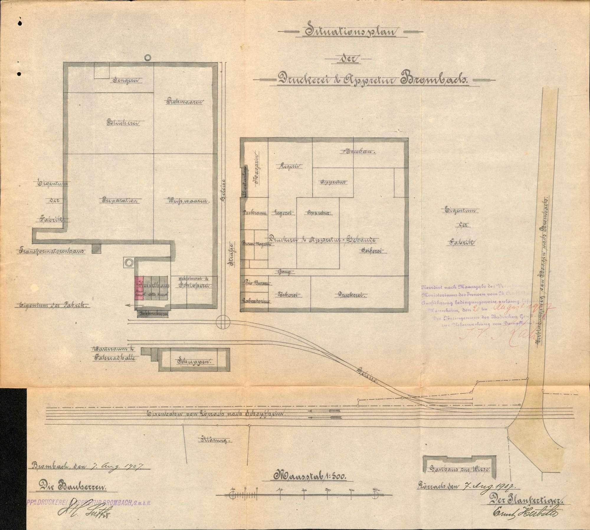 Gesuch der Fa. Druckerei und Appretur GmbH in Brombach um Erlaubnis zur Aufstellung eines Dampfkessels, Bild 1