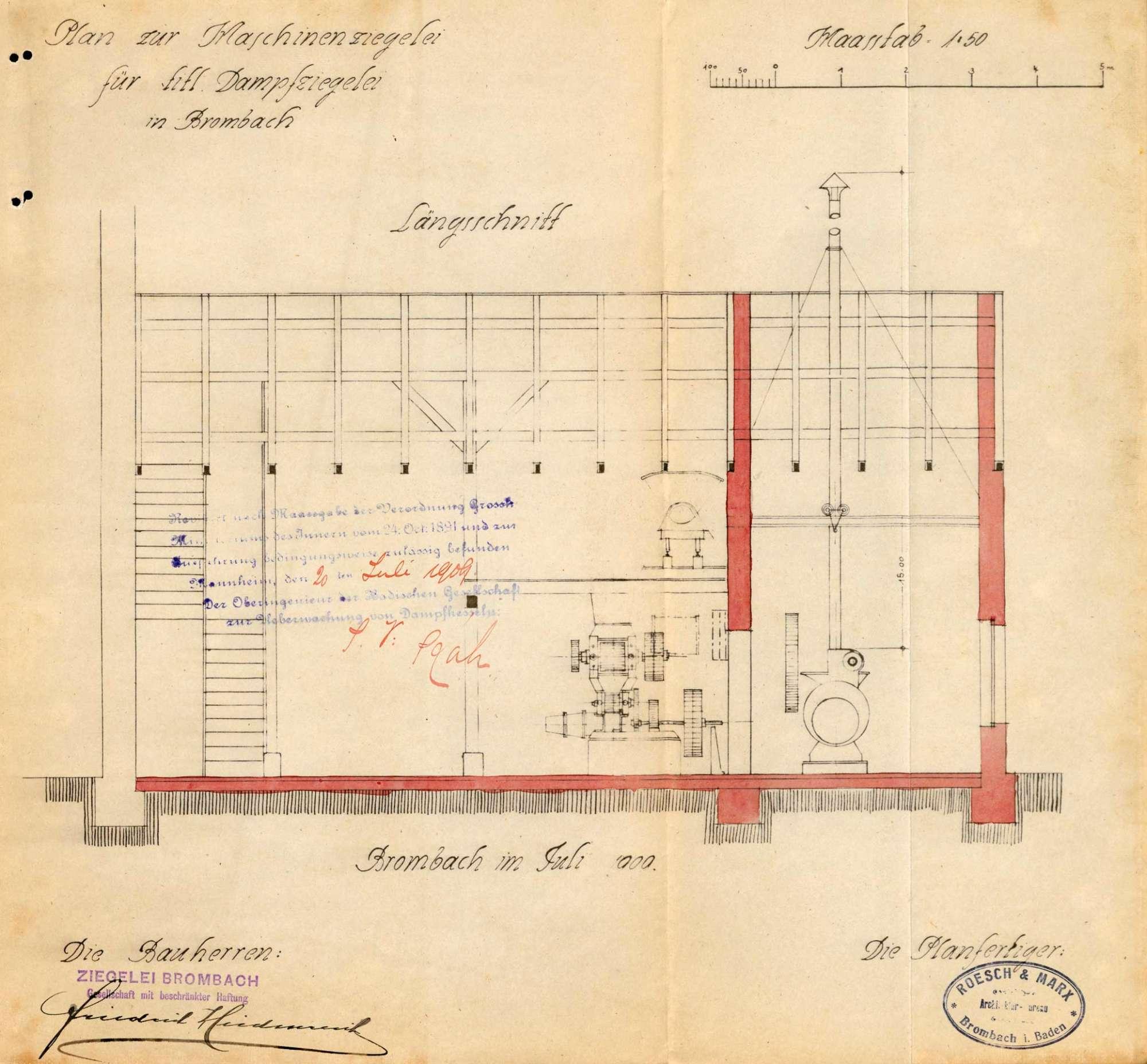 Gesuch der Fa. Ziegelei Brombach um Erlaubnis zur Anlegung eines Dampfkessels, Bild 3