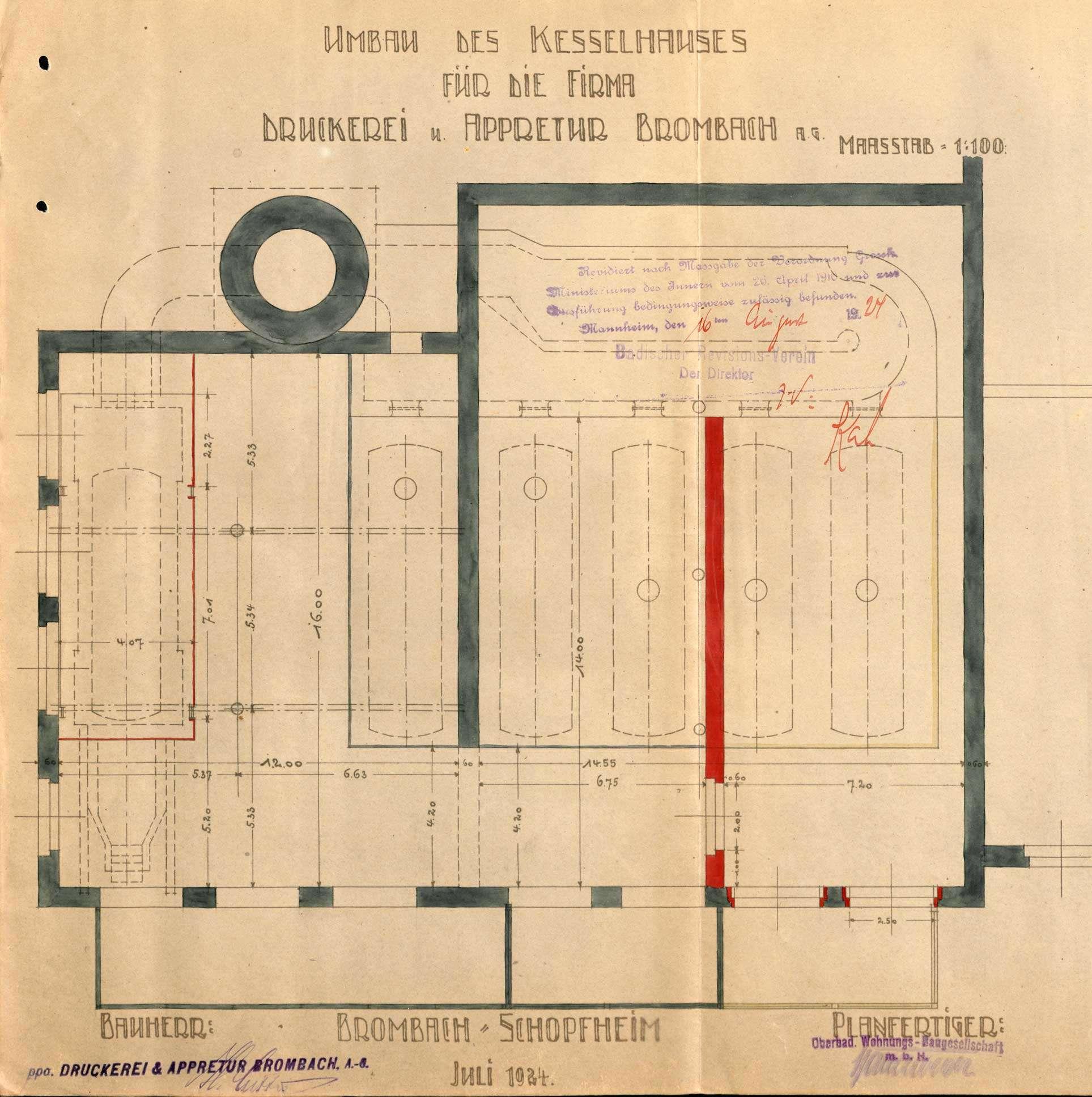 Gesuch der Fa. Druckerei und Appretur in Brombach GmbH um Erlaubnis zur Anlegung eines Dampfkessels, Bild 2