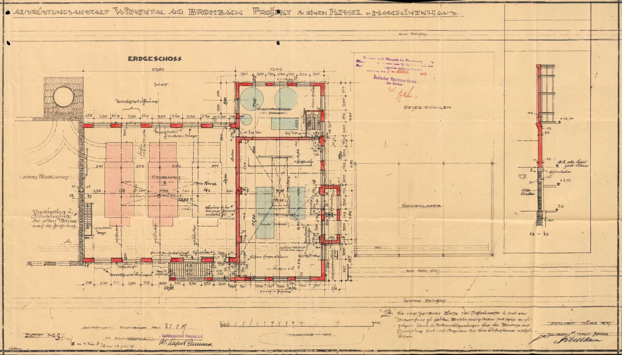 Gesuch der Fa. Ausrüstungsanstalt Wiesental AG in Brombach um Erlaubnis zur Anlegung eines Dampfkessels, Bild 3