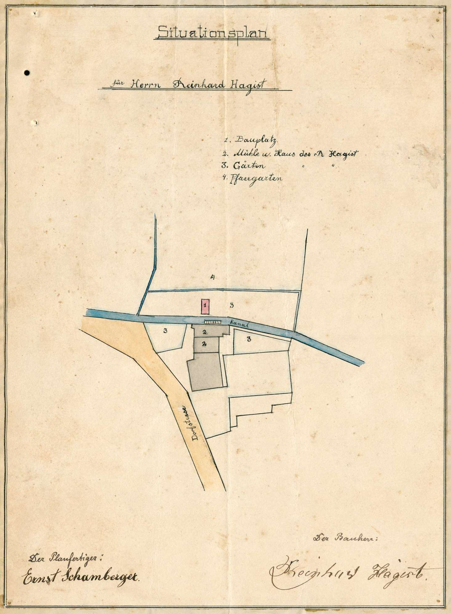 Gesuch des Reinhard Hagist in Eimeldingen um Erlaubnis zur Anlegung eines Dampfkessels, Bild 1