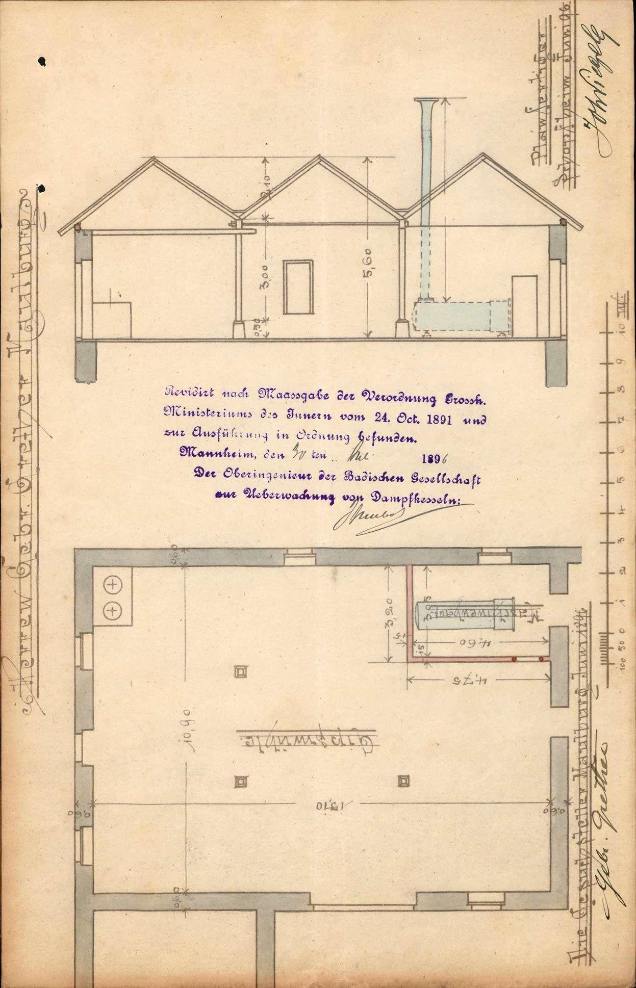 Gesuch der Fa. Gebrüder Grether, Maulburg, um Erlaubnis zur Anlegung eines Dampfkessels in ihrem Gipswerk in Höllstein, Bild 2