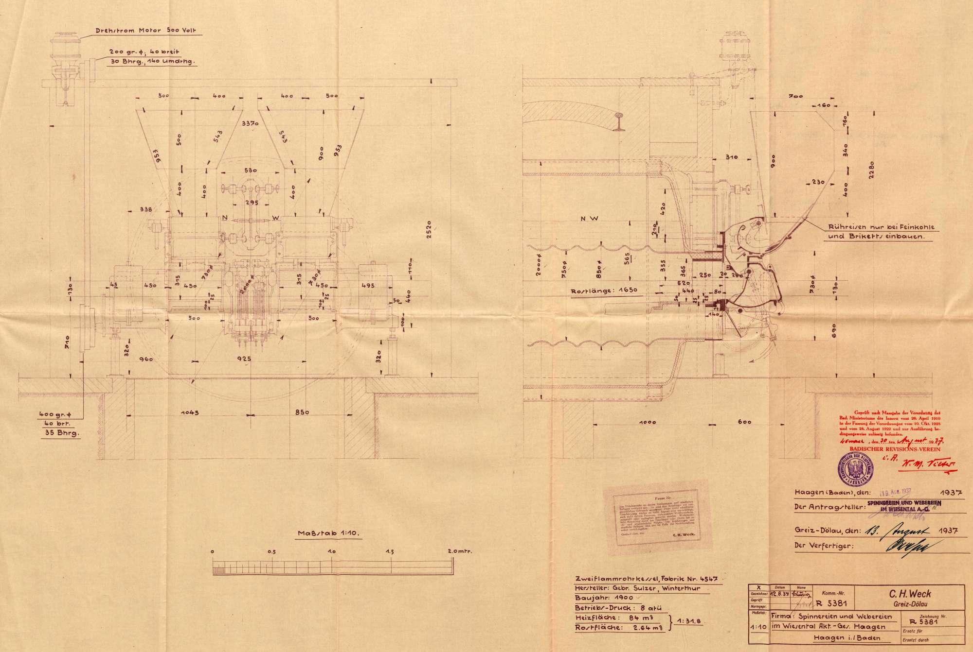 Gesuch der Fa. Spinnereien und Webereien im Wiesental AG um Erlaubnis zum Einbau eines automatischen Rostbeschickungsapparates in einen Dampfkessel, Bild 1