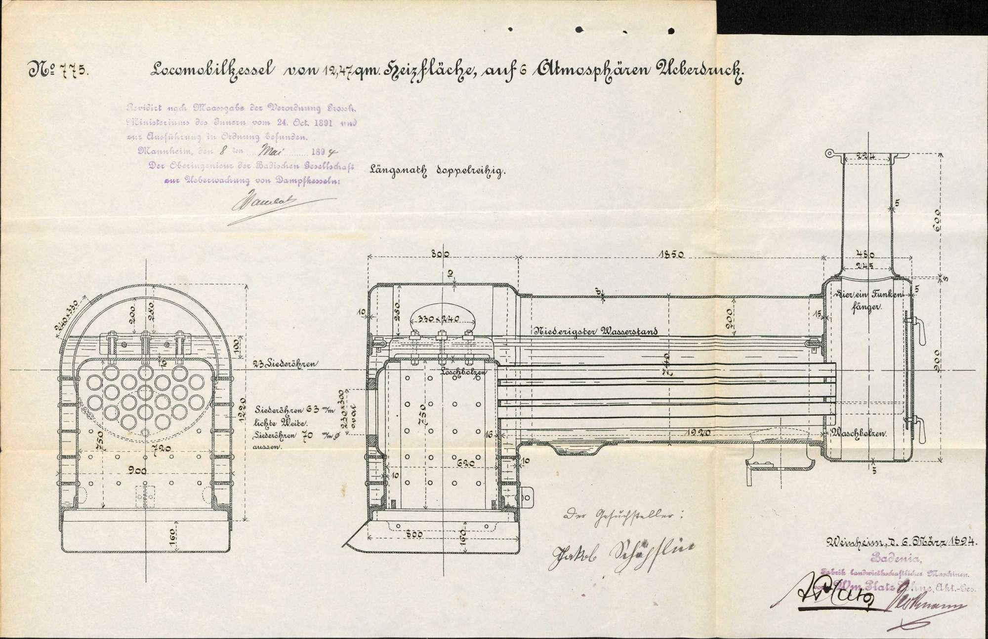 Gesuch des Jakob Schöpflin in Hauingen-Rechberg um Erlaubnis zur Anlegung eines Dampfkessels in einer Sägemühle, Bild 3