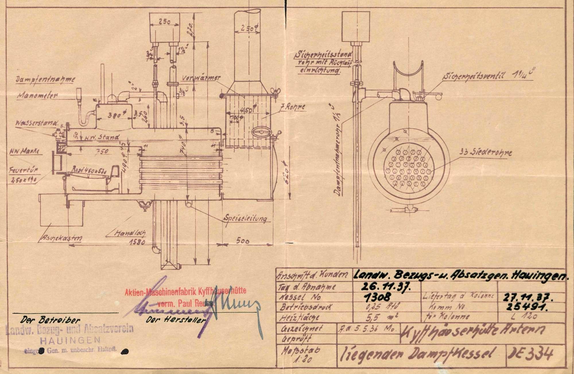 Gesuch um Erlaubnis zur Anlegung eines Dampfkessels beim Landwirtschaftlichen Bezugs- und Absatzverein Hauingen, Bild 1