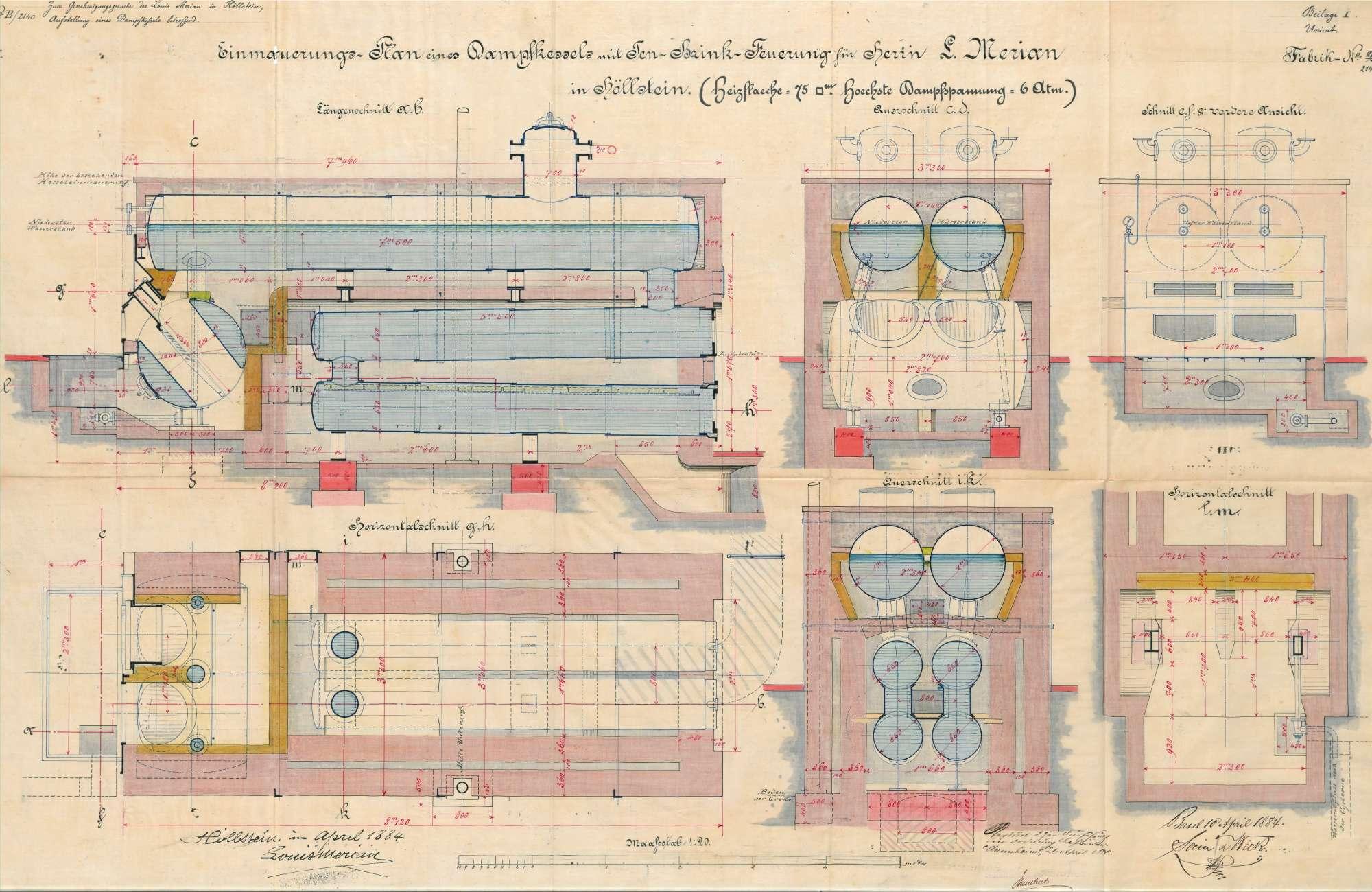 Gesuch der Fa. Louis Merian in Höllstein um Erlaubnis zur Anlegung eines Dampfkessels, Bild 1