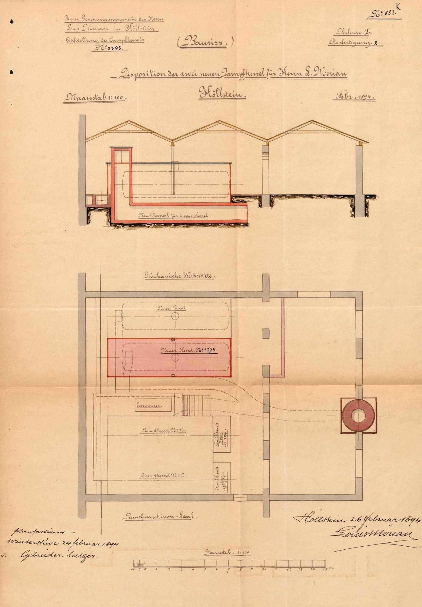 Gesuch der Fa. Louis Merian in Höllstein um Erlaubnis zur Anlegung zweier Dampfkessel, Bild 2