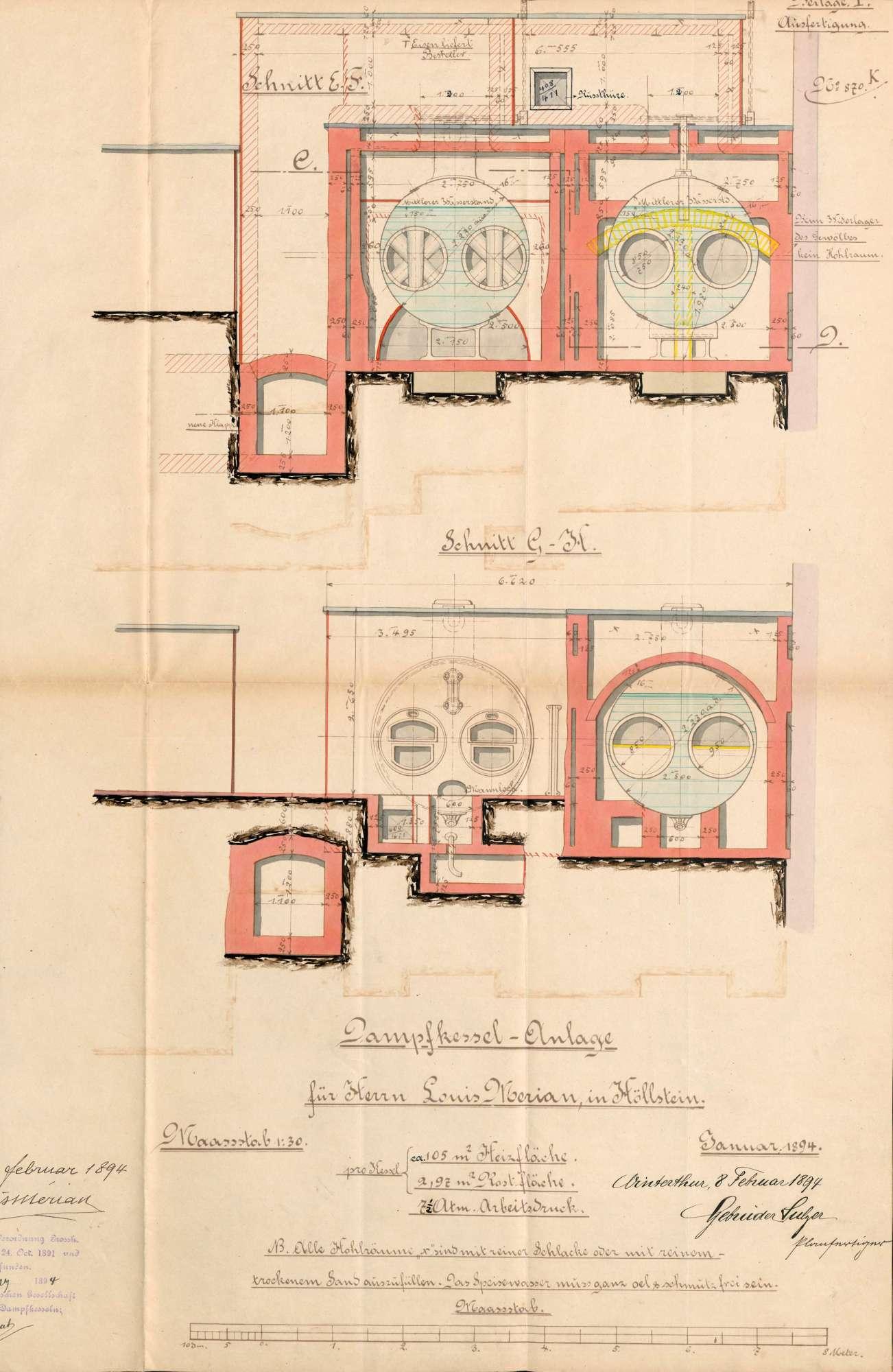 Gesuch der Fa. Louis Merian in Höllstein um Erlaubnis zur Anlegung zweier Dampfkessel, Bild 3