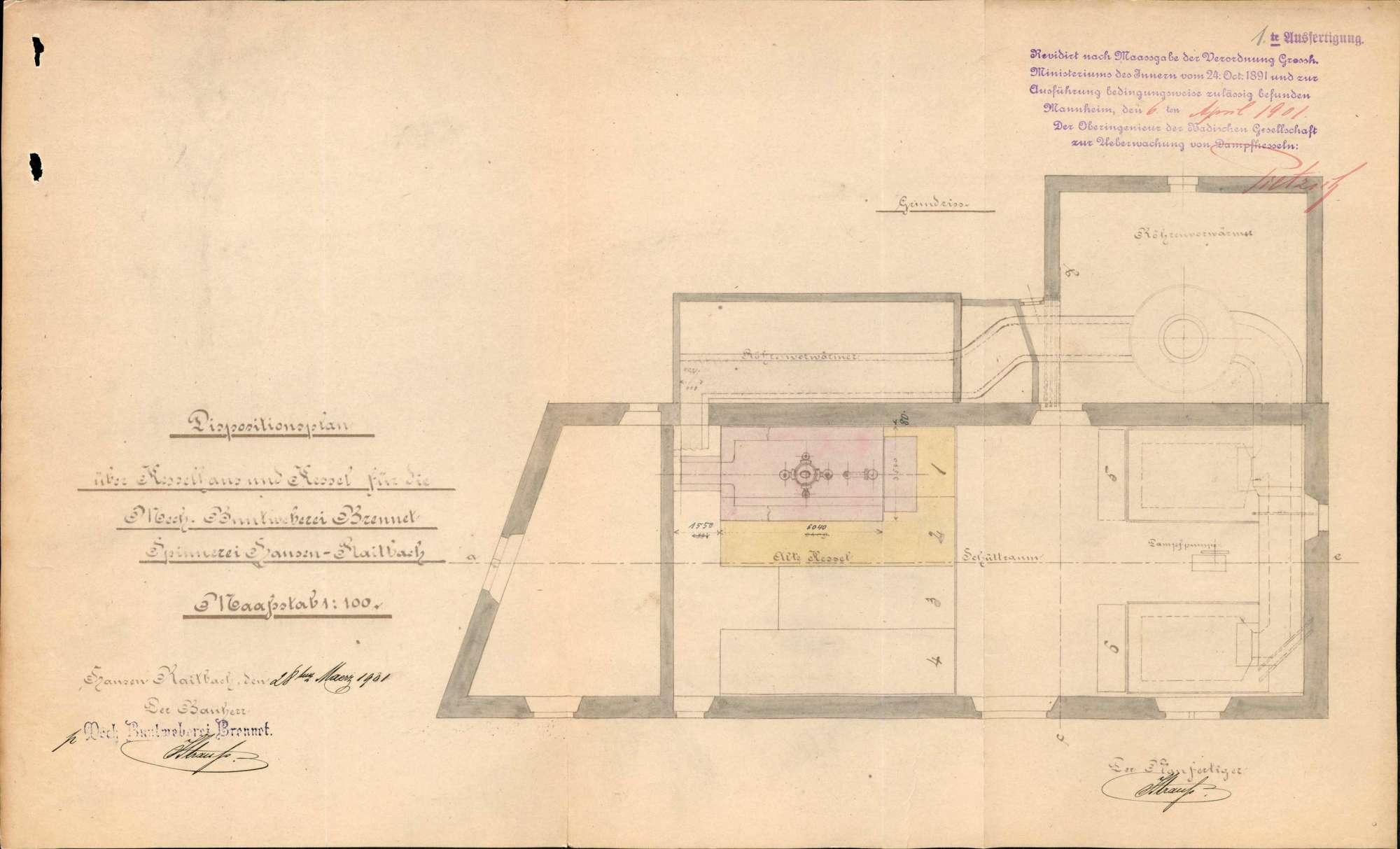 Gesuche der Mechanischen Buntweberei Brennet in Hausen um Erlaubnis zur Anlegung bzw. Veränderung eines Dampfkessels, Bild 1