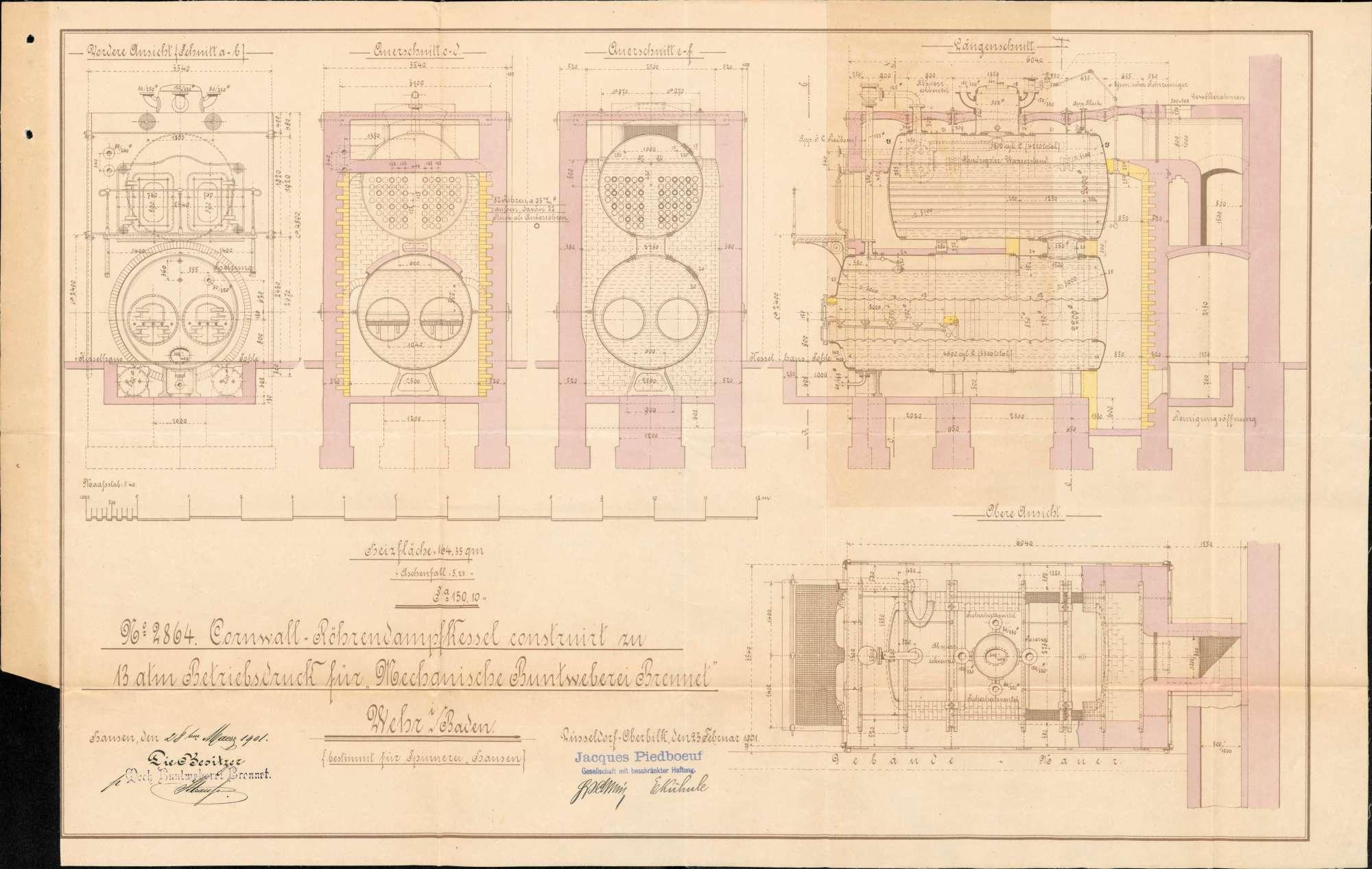 Gesuche der Mechanischen Buntweberei Brennet in Hausen um Erlaubnis zur Anlegung bzw. Veränderung eines Dampfkessels, Bild 2