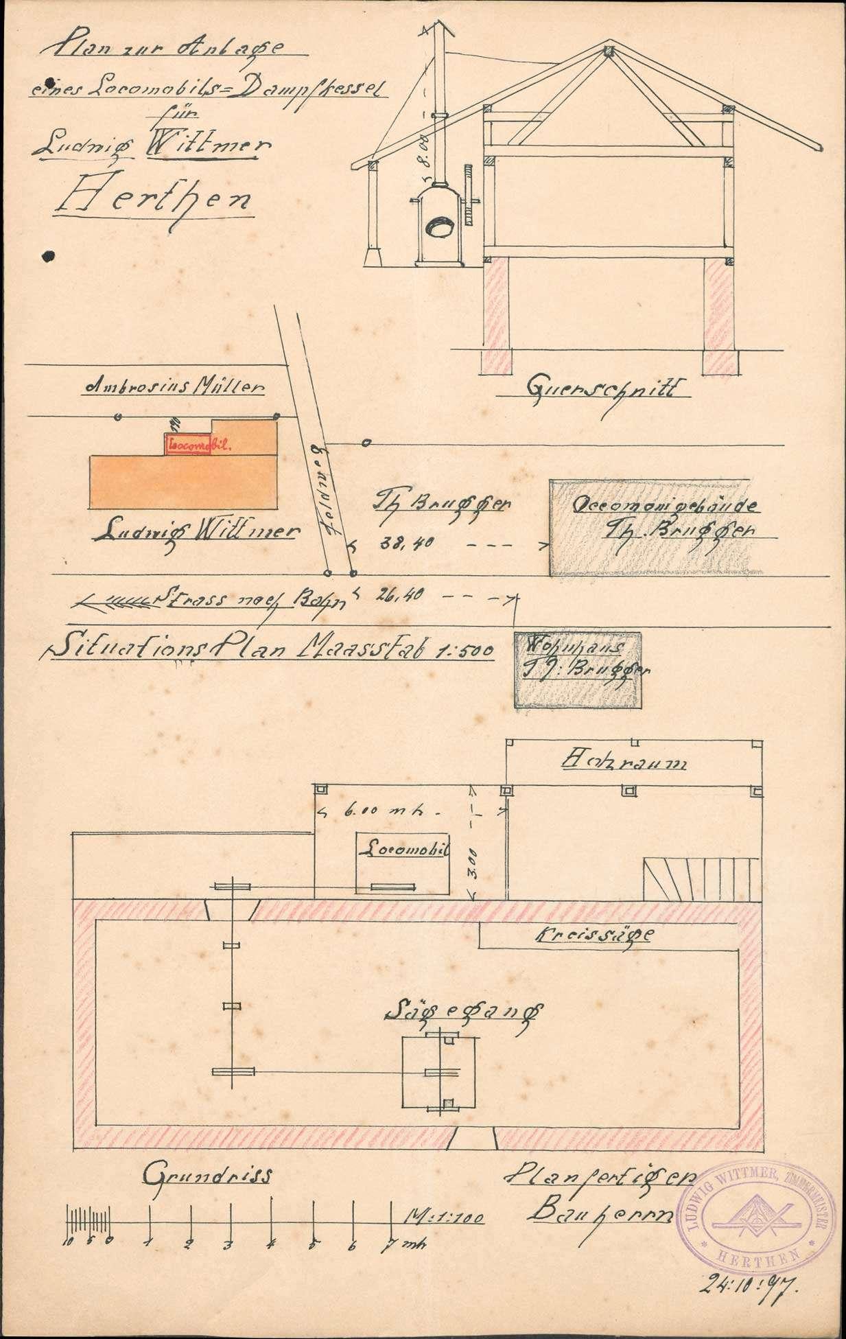 Gesuch des Ludwig Wittmer in Herten um Erlaubnis zur Anlegung bzw. Veränderung eines Dampfkessels, Bild 1