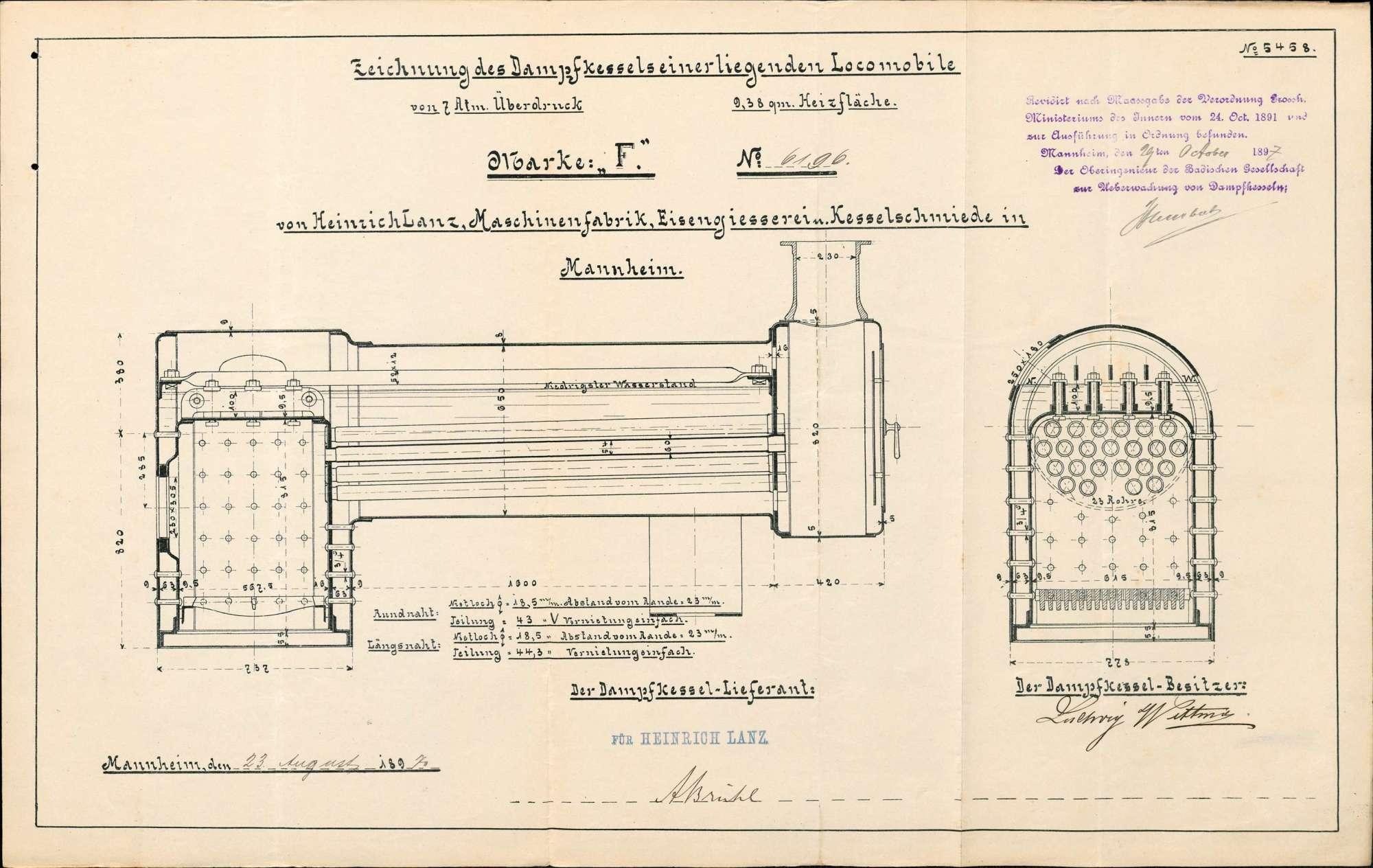 Gesuch des Ludwig Wittmer in Herten um Erlaubnis zur Anlegung bzw. Veränderung eines Dampfkessels, Bild 2