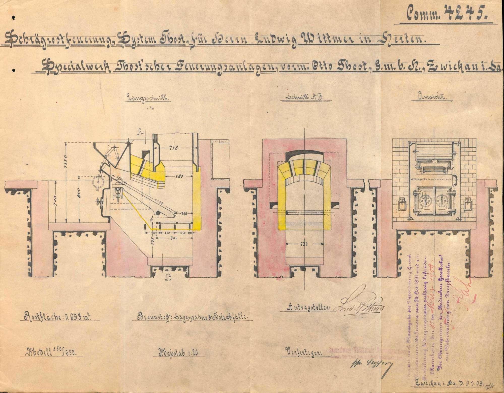 Gesuch des Ludwig Wittmer in Herten um Erlaubnis zur Anlegung bzw. Veränderung eines Dampfkessels, Bild 3
