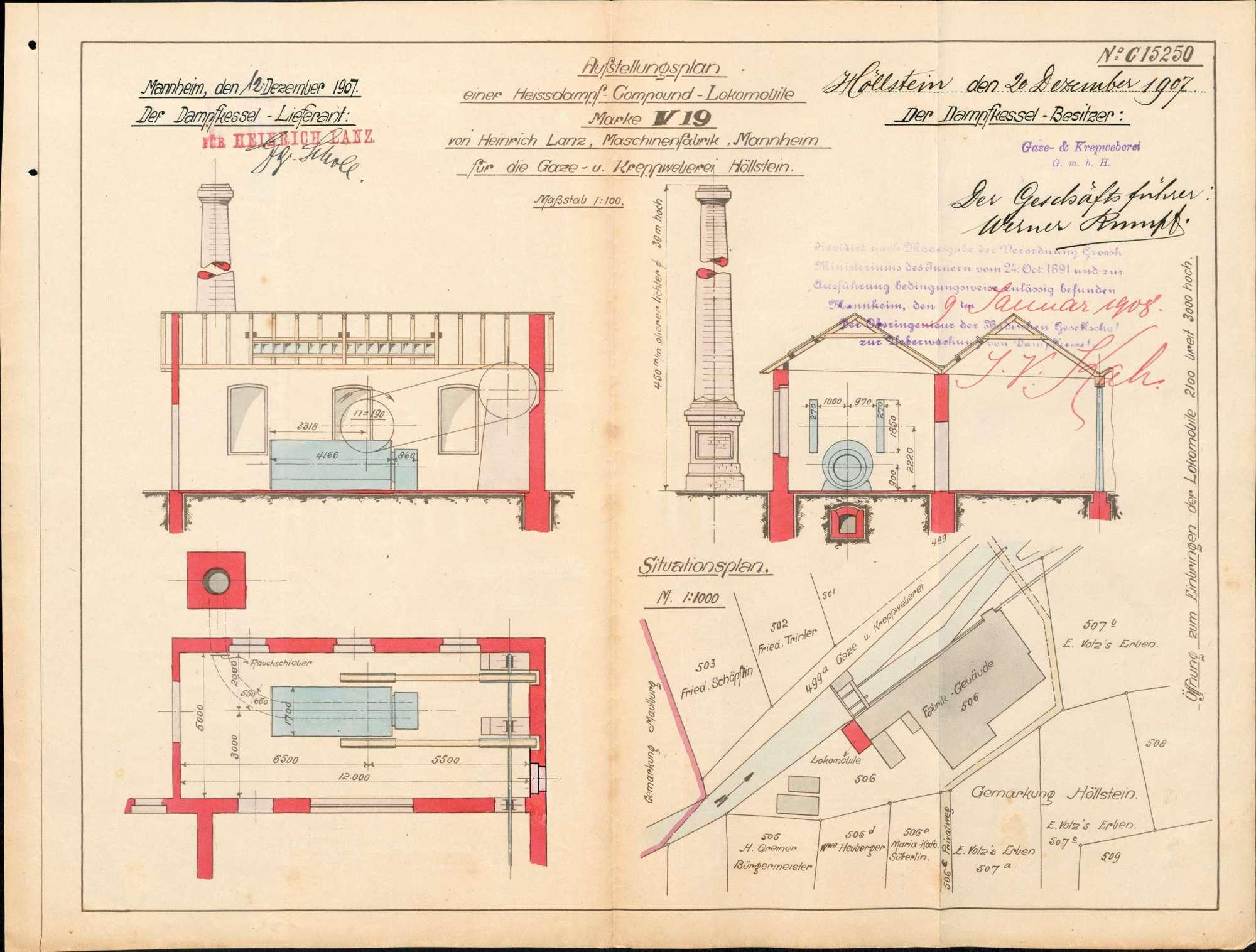 Gesuch der Fa. Gaze- und Kreppweberei GmbH in Höllstein um Erlaubnis zur Anlegung bzw. Veränderung eines Dampfkessels, Bild 1