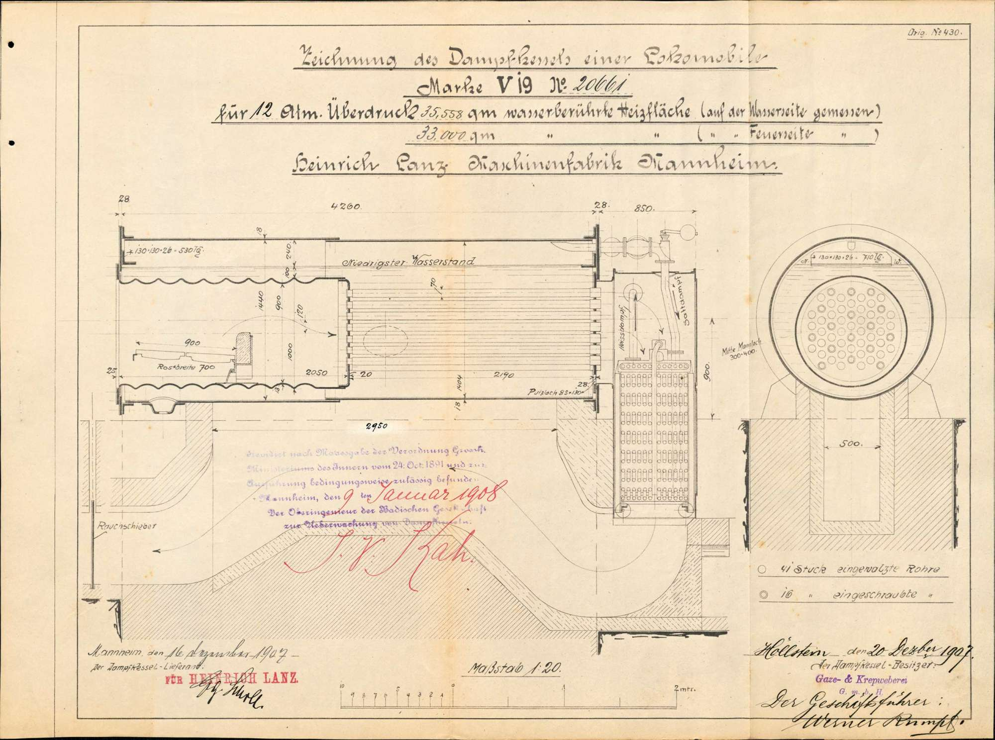 Gesuch der Fa. Gaze- und Kreppweberei GmbH in Höllstein um Erlaubnis zur Anlegung bzw. Veränderung eines Dampfkessels, Bild 2