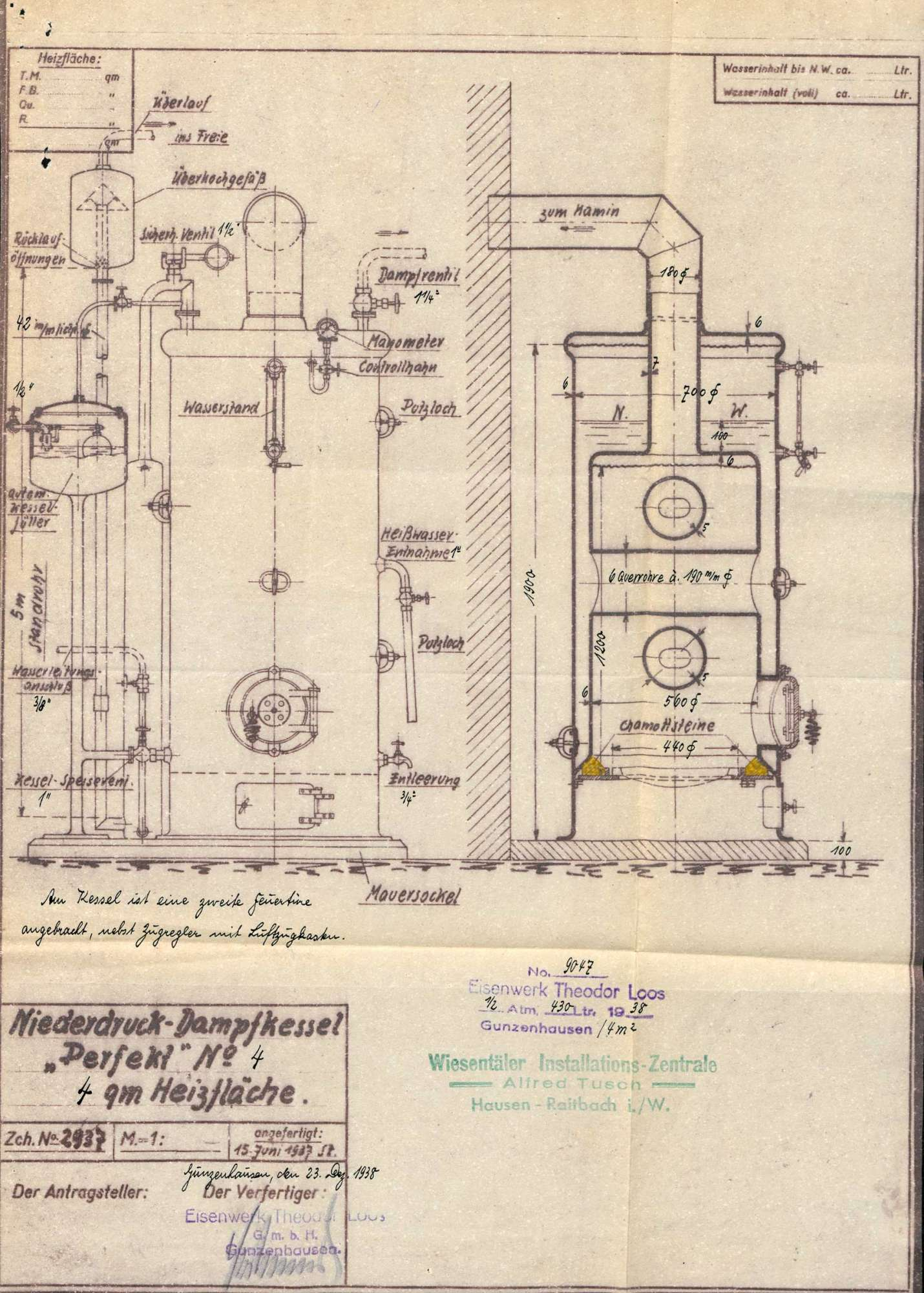 Zulassung eines Niederdruckdampfkessels in der Fa. Gaze- und Kreppweberei in Höllstein, Bild 1