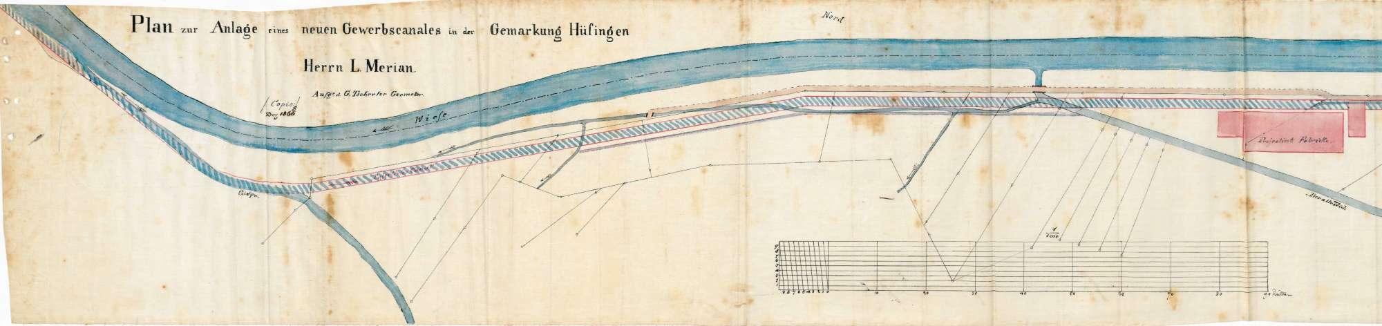 Einrichtung eines Wasserwerks durch den Fabrikanten Louis Merian in Höllstein; Beschwerden von wasserberechtigten Mitbesitzern, Bild 1