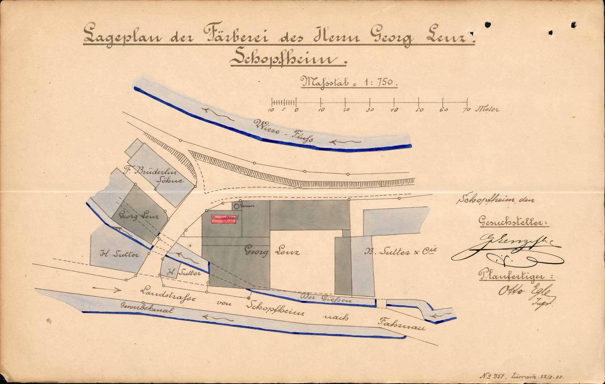 Gesuch der Färberei Georg Lenz (später Färberei Burckhardt und Schmidt) in Schopfheim um Erlaubnis zur Anlegung eines Dampfkessels; Revision des Kessels, Bild 1